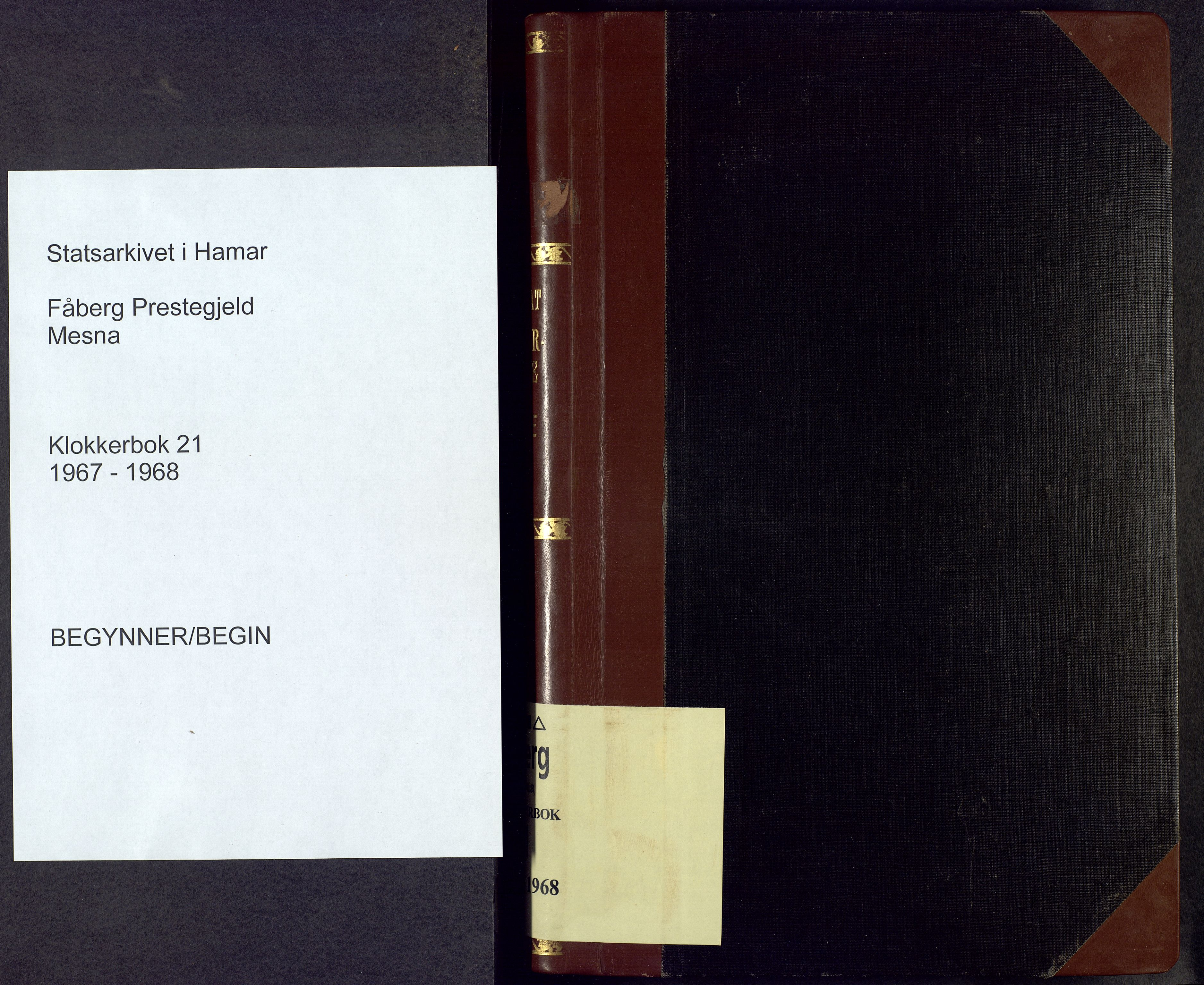 SAH, Fåberg prestekontor, H/Ha/Hab/L0021: Klokkerbok nr. 21, 1967-1968
