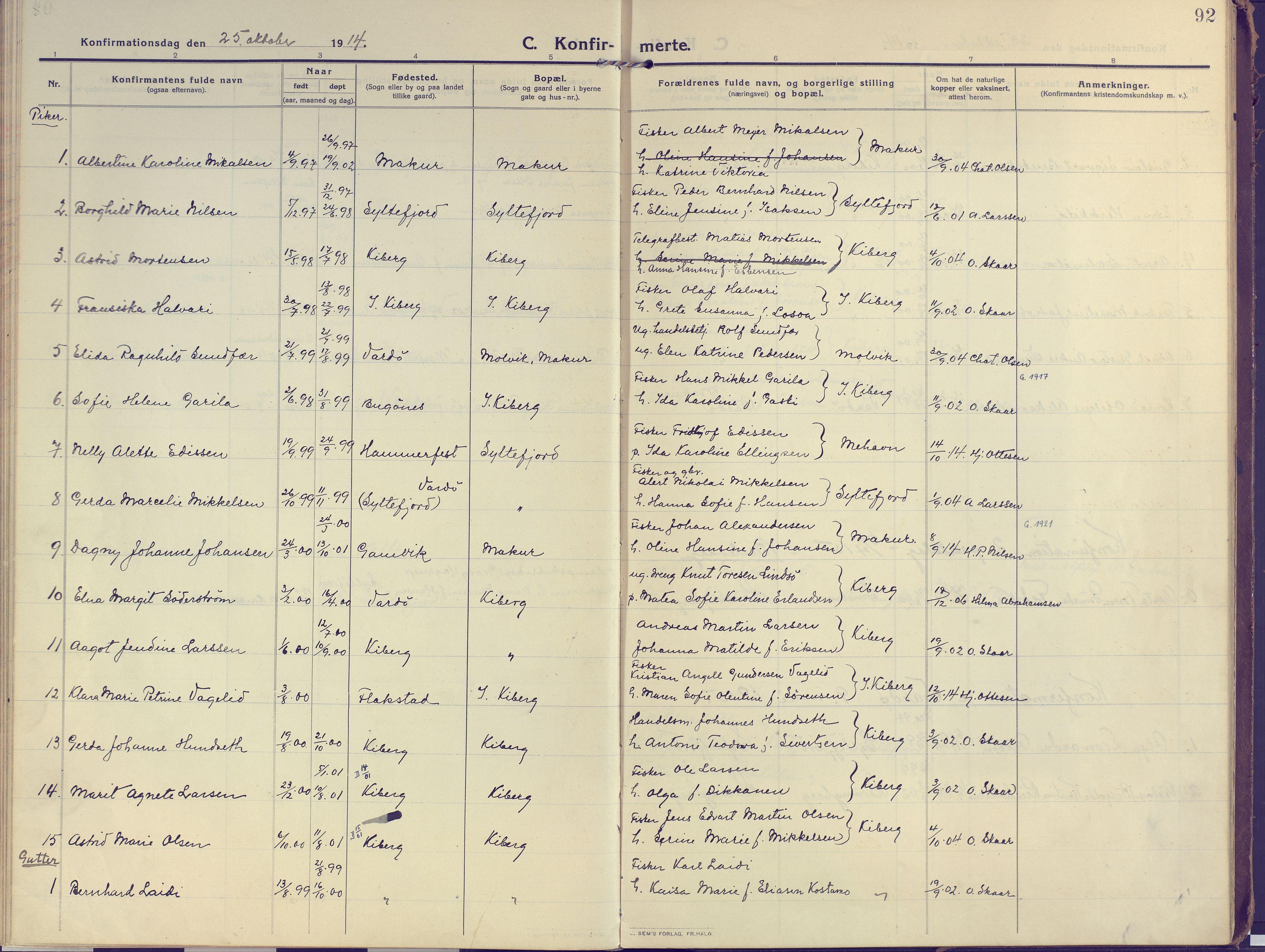 SATØ, Vardø sokneprestkontor, H/Ha/L0013kirke: Ministerialbok nr. 13, 1912-1928, s. 92