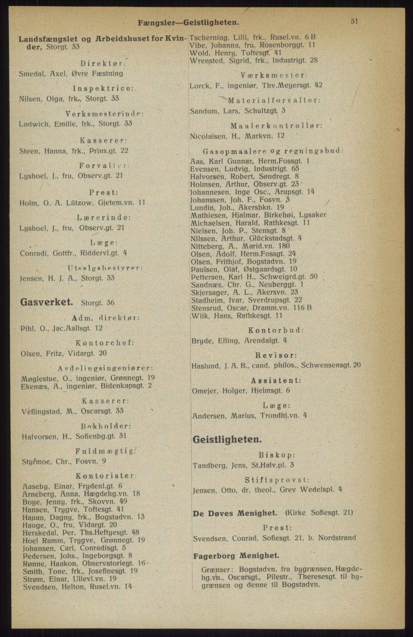 RA, Kristiania adressebok (publikasjon)*, 1914, s. 51