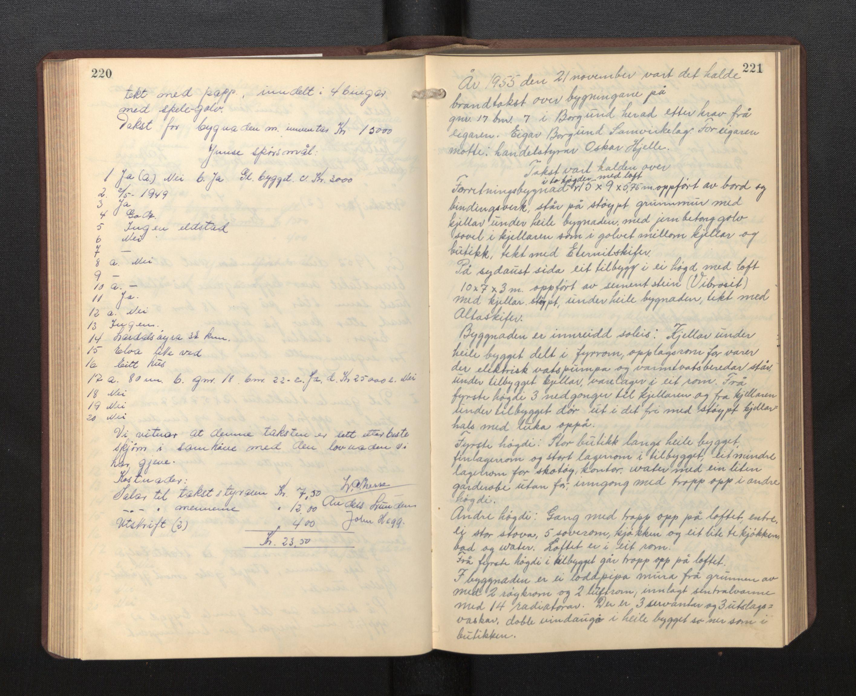 SAB, Lensmannen i Borgund, 0012/L0002: Branntakstprotokoll, 1929-1933, s. 220-221