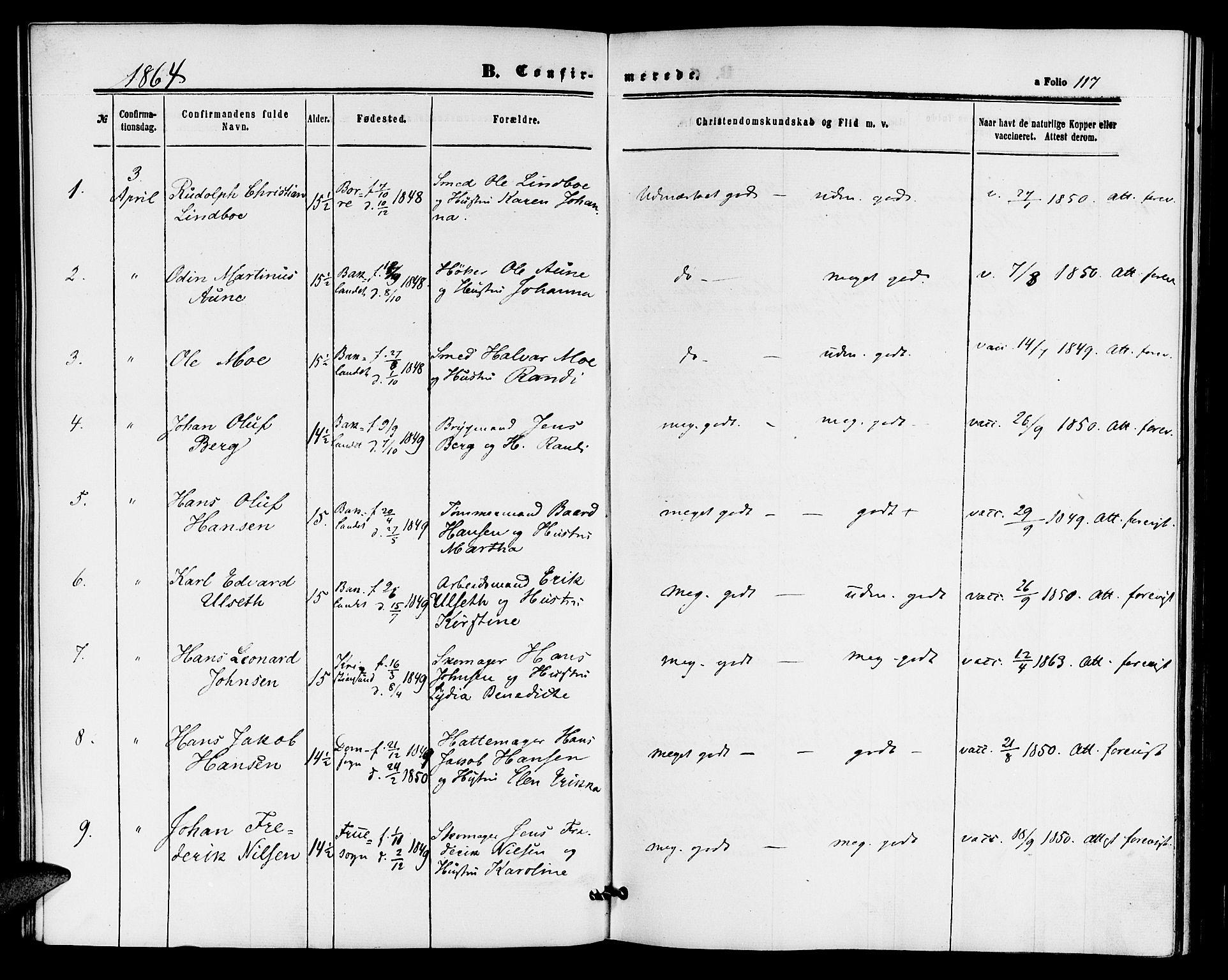 SAT, Ministerialprotokoller, klokkerbøker og fødselsregistre - Sør-Trøndelag, 604/L0185: Ministerialbok nr. 604A06, 1861-1865, s. 117