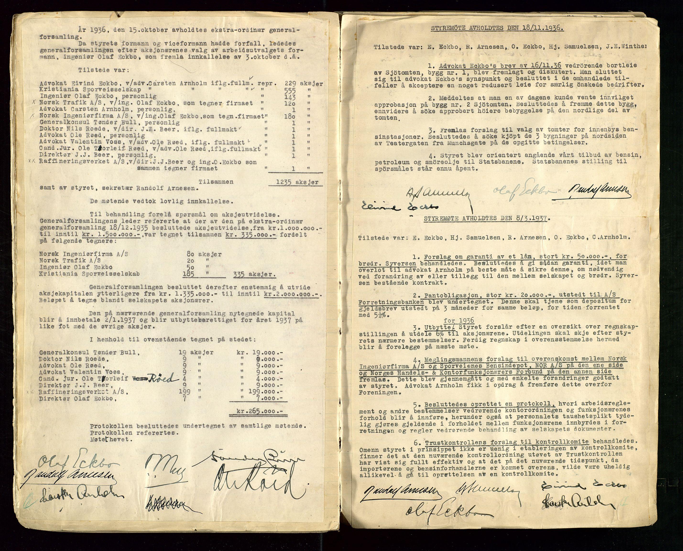 SAST, PA 1514 - Sporveienes Bensindepot, Norsk Oljeraffineri A/S, A/L0001: Styreprotokoll. Forhandlingsprotokoll Arbeidsutvaget, 1932-1949, s. 32
