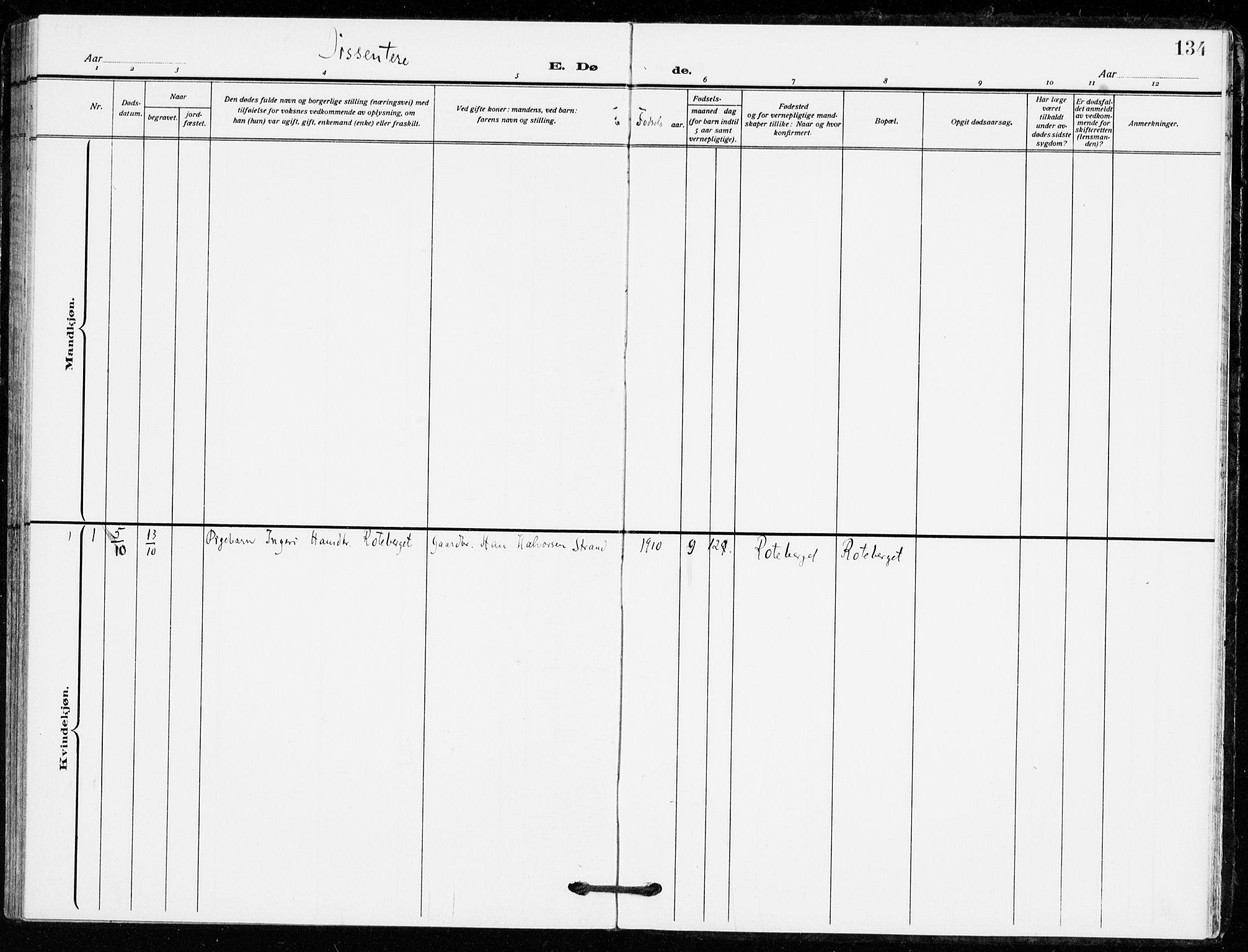 SAKO, Bø kirkebøker, F/Fa/L0013: Ministerialbok nr. 13, 1909-1921, s. 134