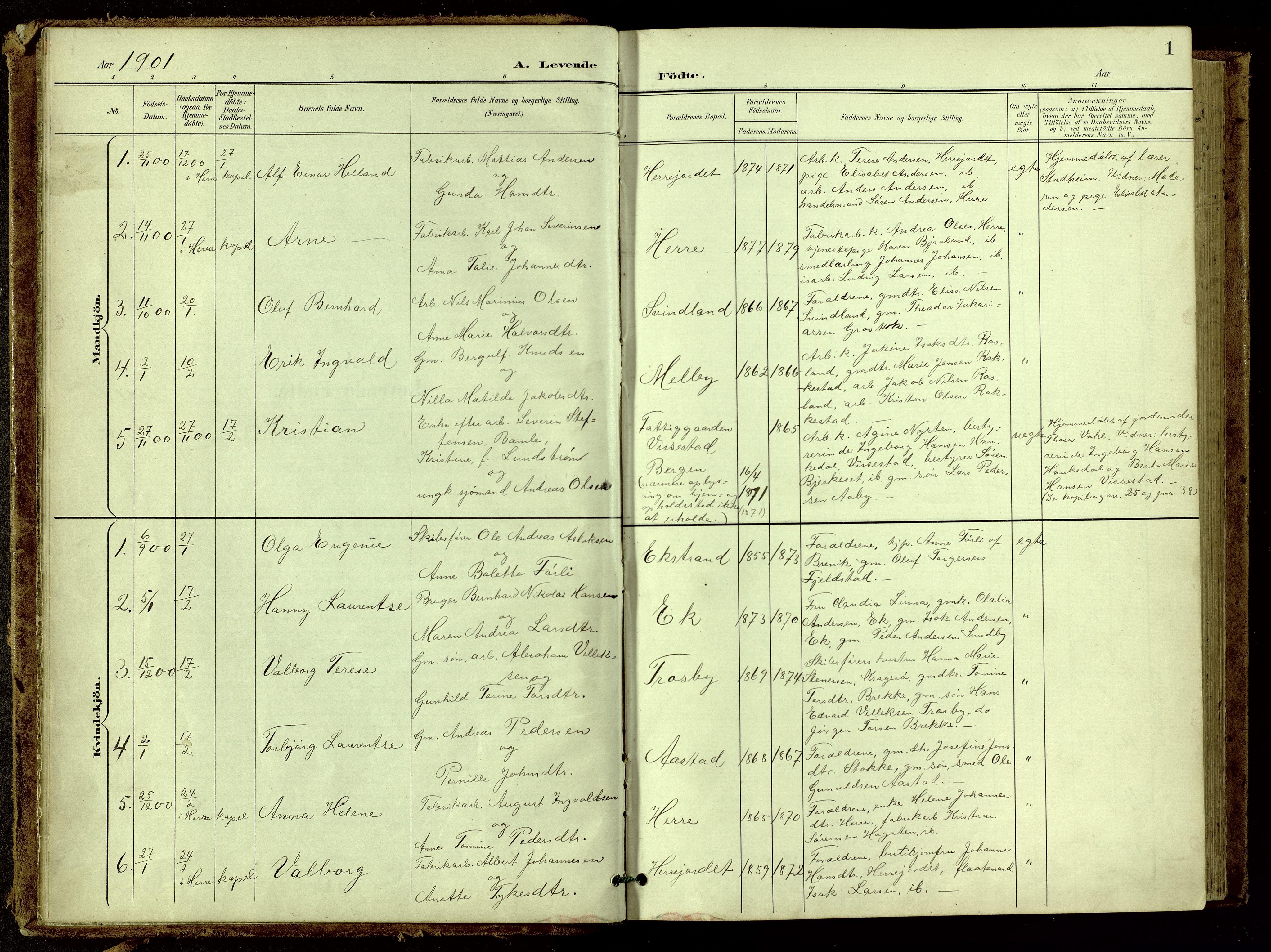 SAKO, Bamble kirkebøker, G/Ga/L0010: Klokkerbok nr. I 10, 1901-1919, s. 1