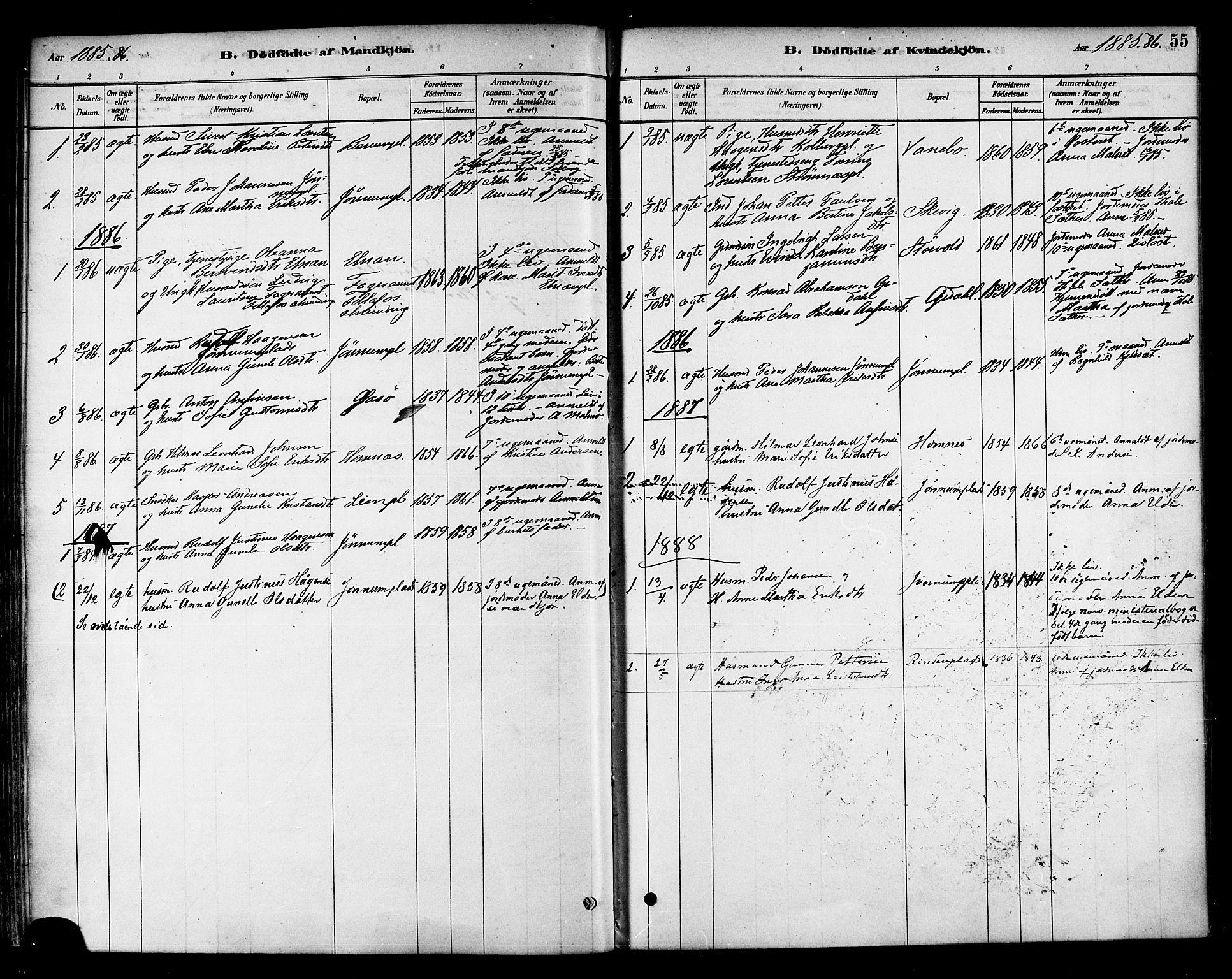 SAT, Ministerialprotokoller, klokkerbøker og fødselsregistre - Nord-Trøndelag, 741/L0395: Ministerialbok nr. 741A09, 1878-1888, s. 55