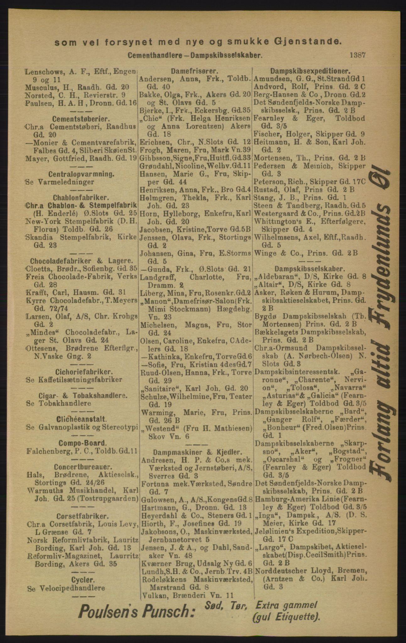 RA, Kristiania adressebok (publikasjon)*, 1906, s. 1387
