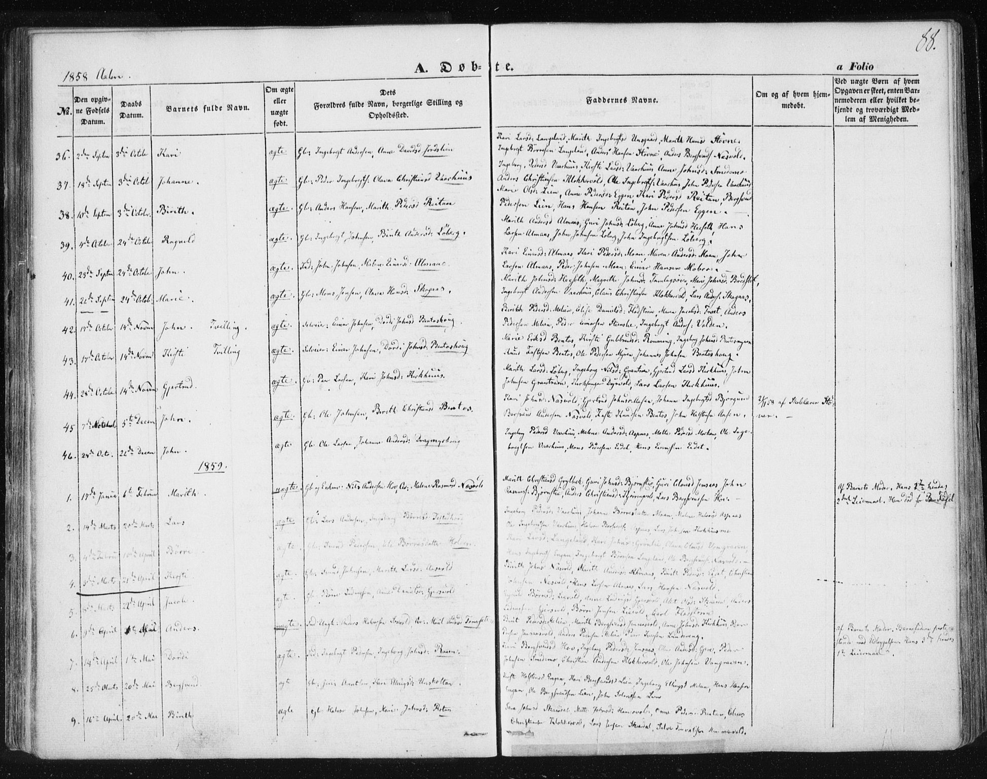 SAT, Ministerialprotokoller, klokkerbøker og fødselsregistre - Sør-Trøndelag, 685/L0965: Ministerialbok nr. 685A06 /3, 1846-1859, s. 88