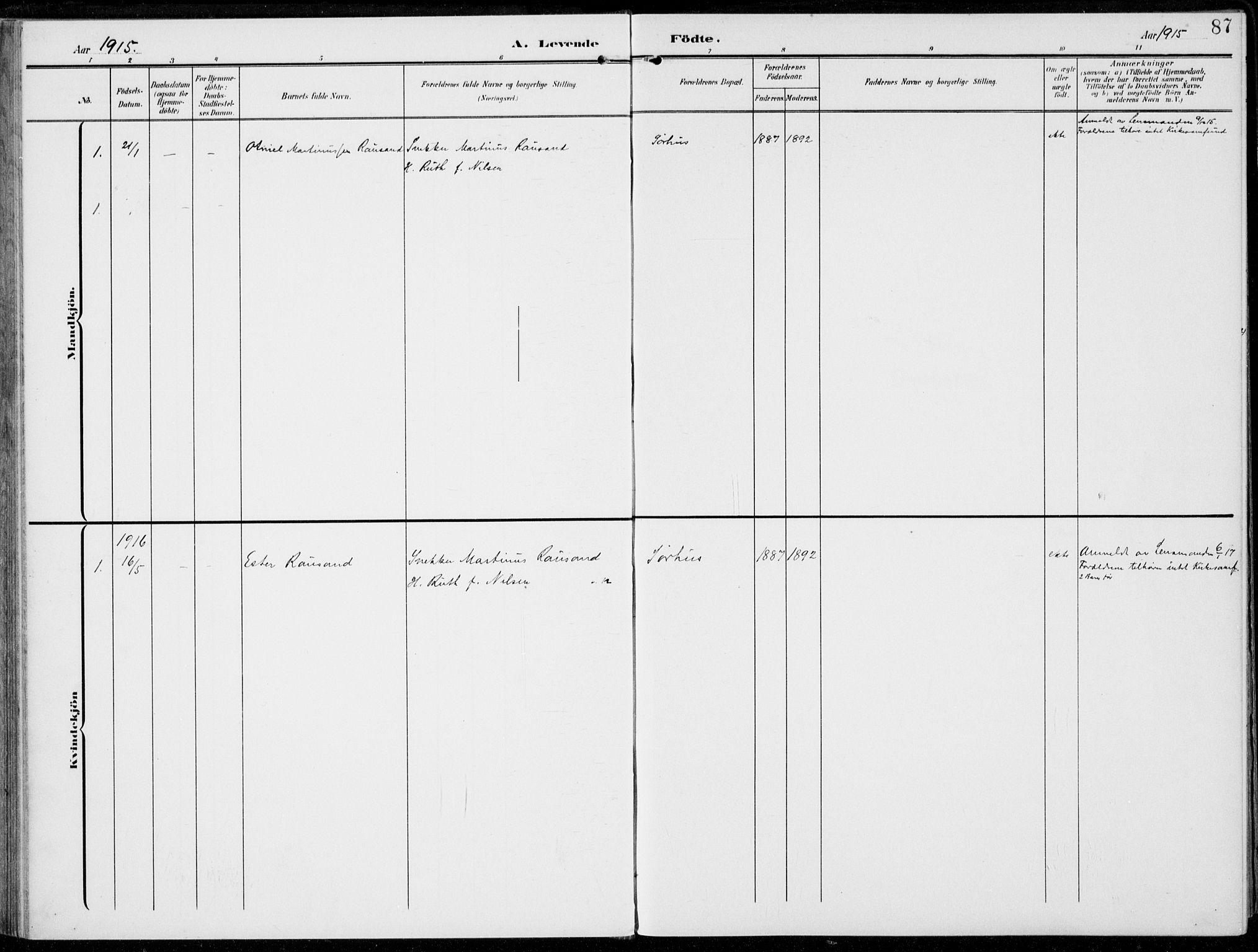 SAH, Alvdal prestekontor, Ministerialbok nr. 4, 1907-1919, s. 87