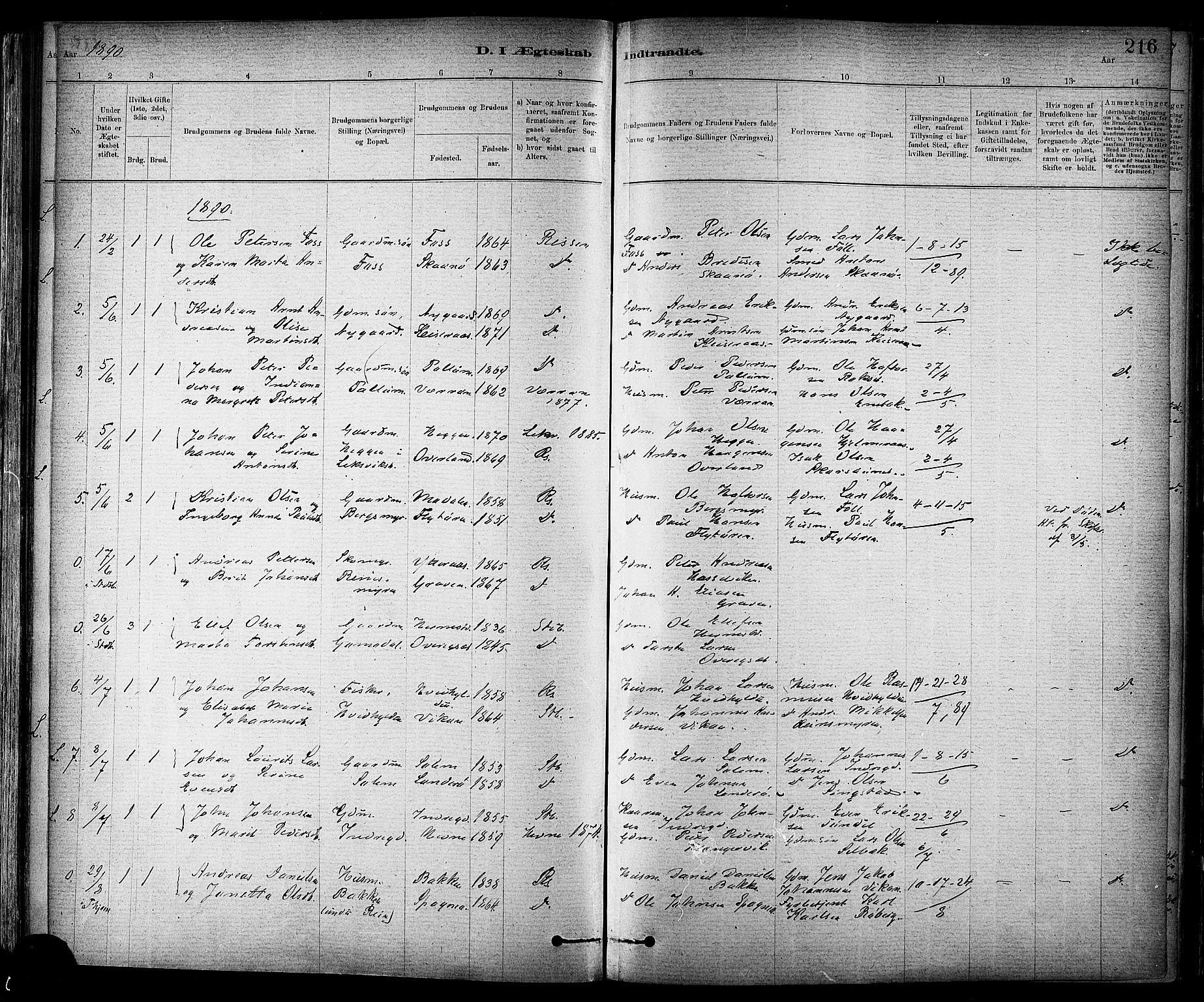 SAT, Ministerialprotokoller, klokkerbøker og fødselsregistre - Sør-Trøndelag, 647/L0634: Ministerialbok nr. 647A01, 1885-1896, s. 216