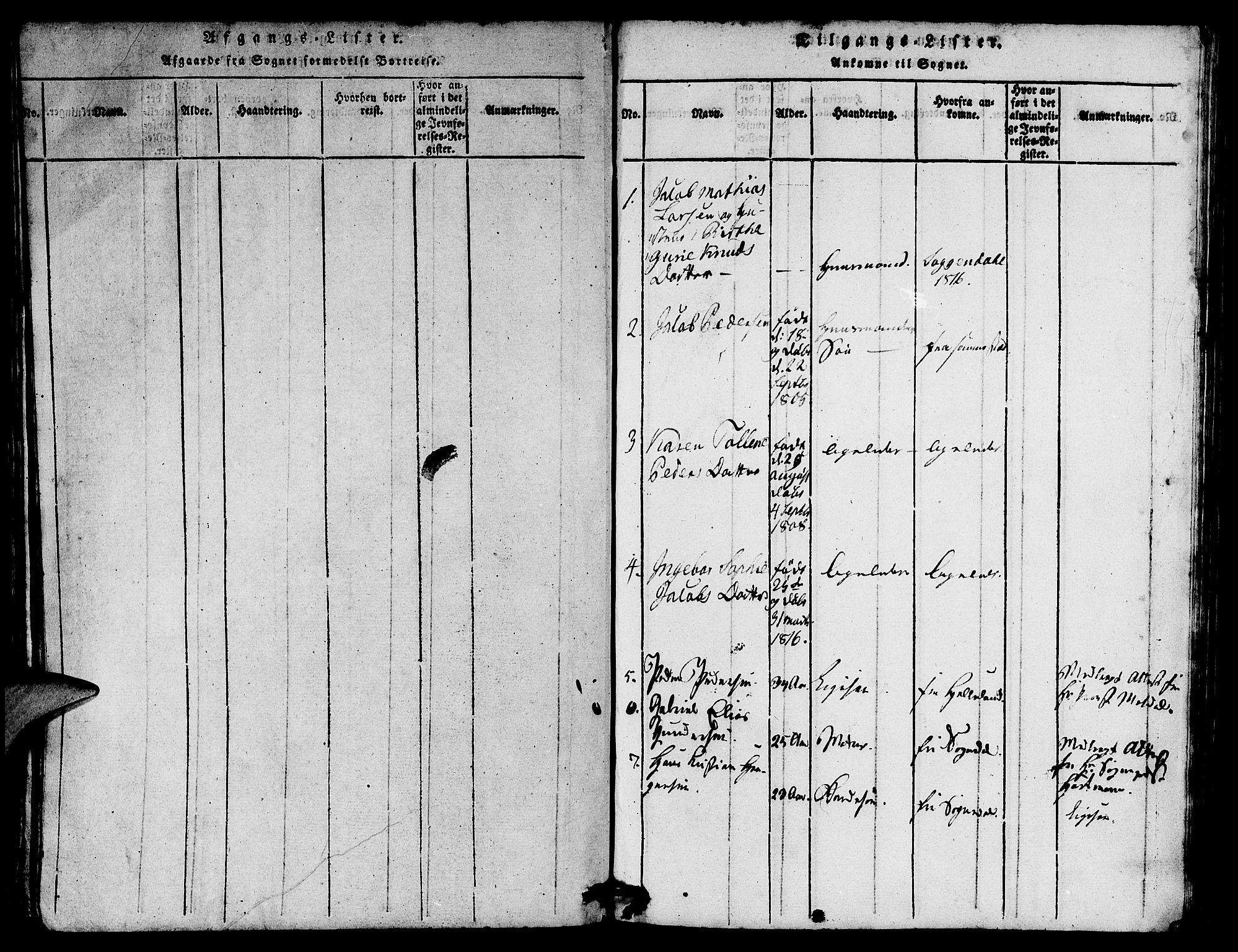 SAST, Egersund sokneprestkontor, Ministerialbok nr. A 7, 1815-1827