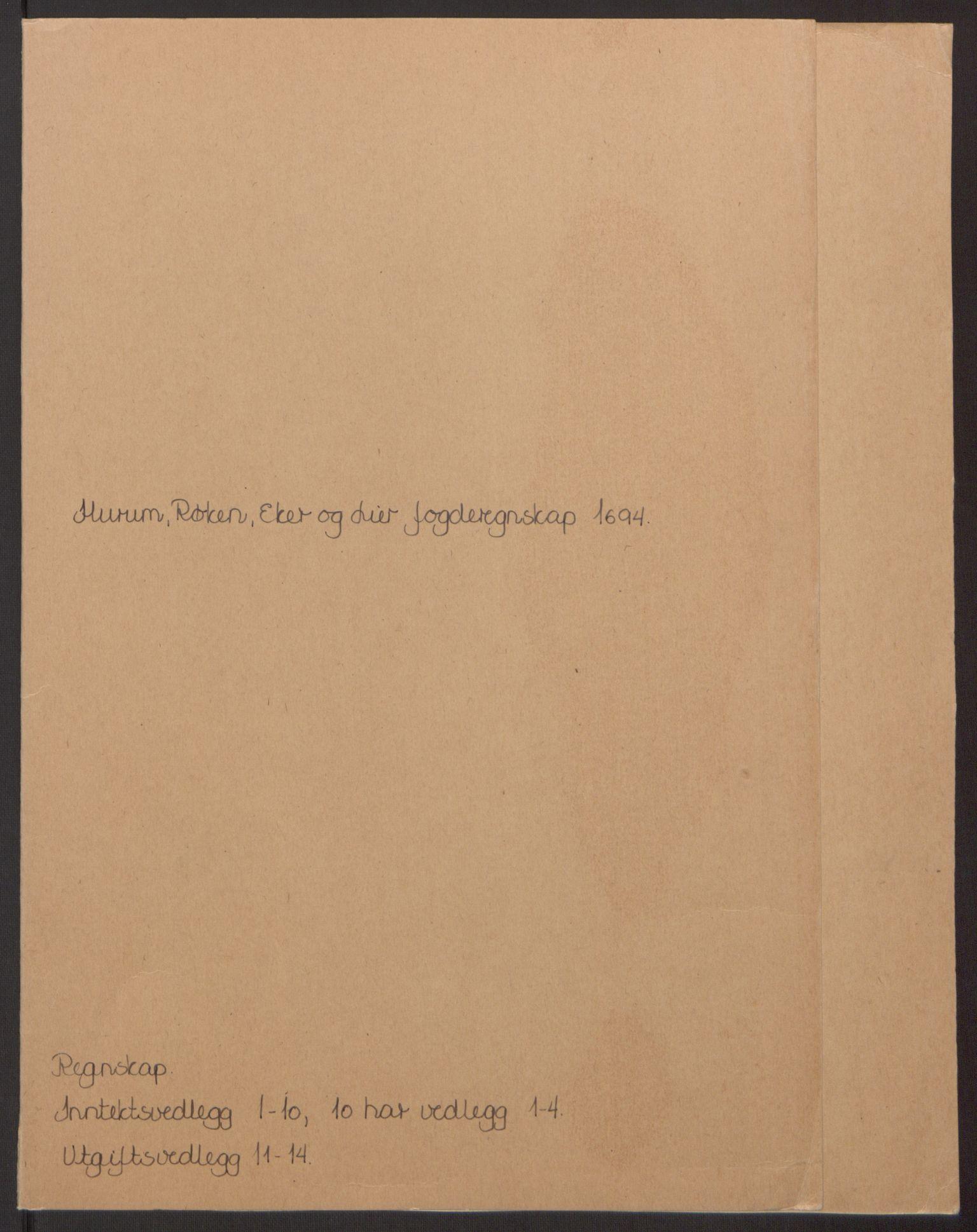 RA, Rentekammeret inntil 1814, Reviderte regnskaper, Fogderegnskap, R30/L1694: Fogderegnskap Hurum, Røyken, Eiker og Lier, 1694-1696, s. 2