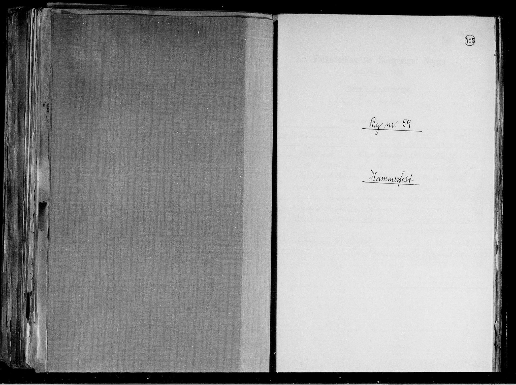 RA, Folketelling 1891 for 2001 Hammerfest kjøpstad, 1891, s. 1