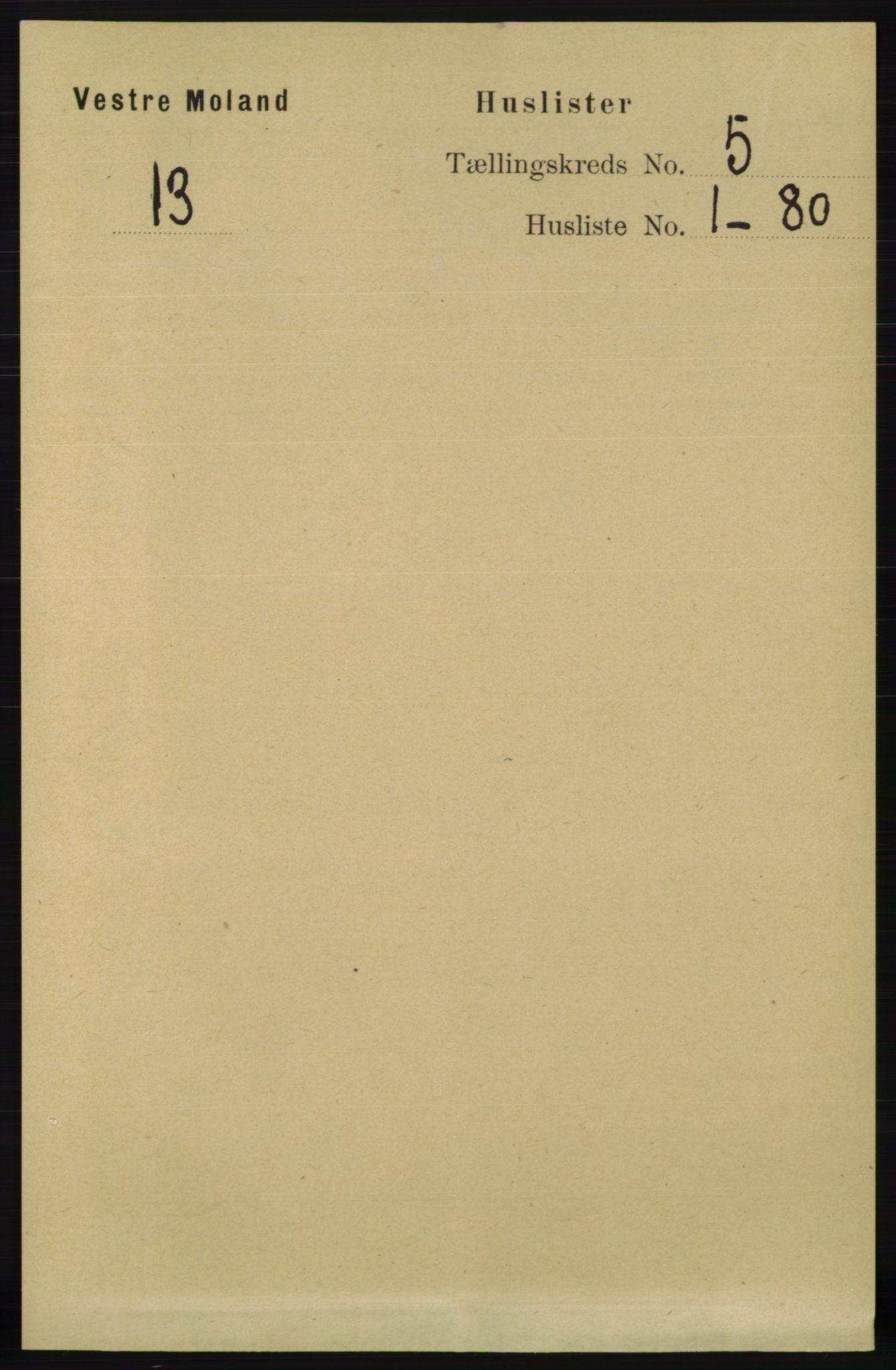 RA, Folketelling 1891 for 0926 Vestre Moland herred, 1891, s. 1750
