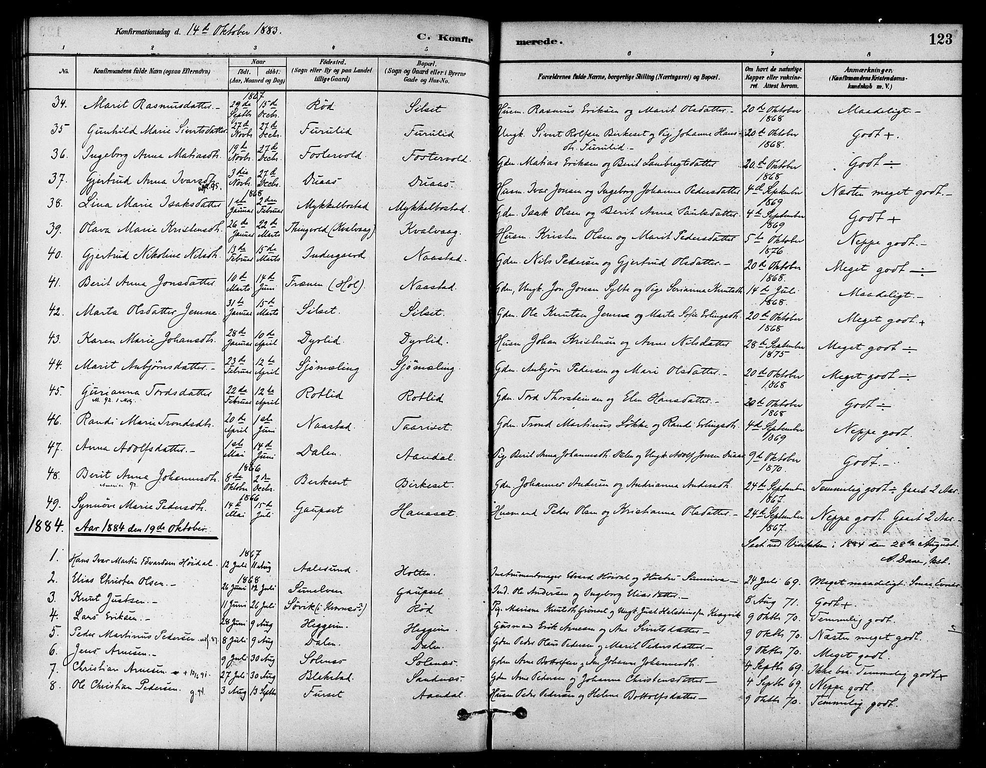 SAT, Ministerialprotokoller, klokkerbøker og fødselsregistre - Møre og Romsdal, 584/L0967: Ministerialbok nr. 584A07, 1879-1894, s. 123