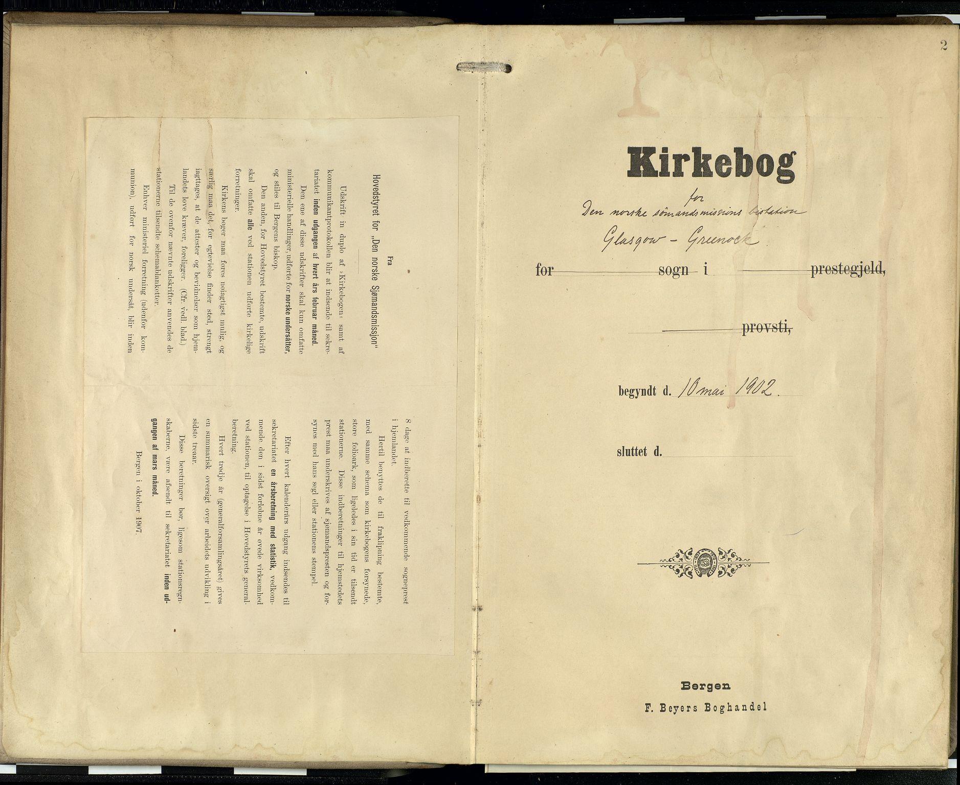 SAB, Privatarkiv 100 - Den norske sjømannsmisjon i utlandet/Skotske havner (Leith, Glasgow), H/Ha/Hab/L0001: Ministerialbok nr. A 1, 1902-1931, s. 1b-2a