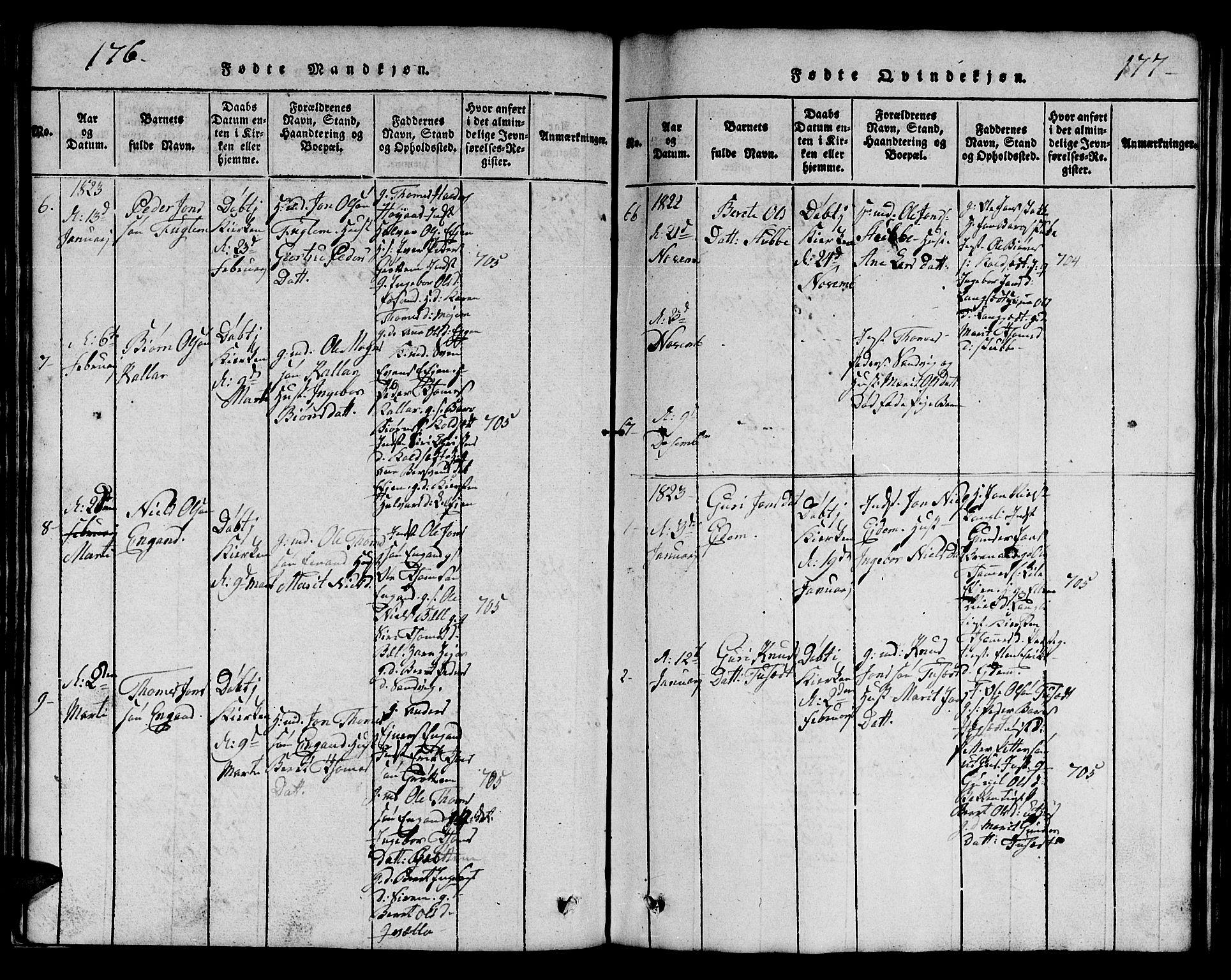 SAT, Ministerialprotokoller, klokkerbøker og fødselsregistre - Sør-Trøndelag, 695/L1152: Klokkerbok nr. 695C03, 1816-1831, s. 176-177