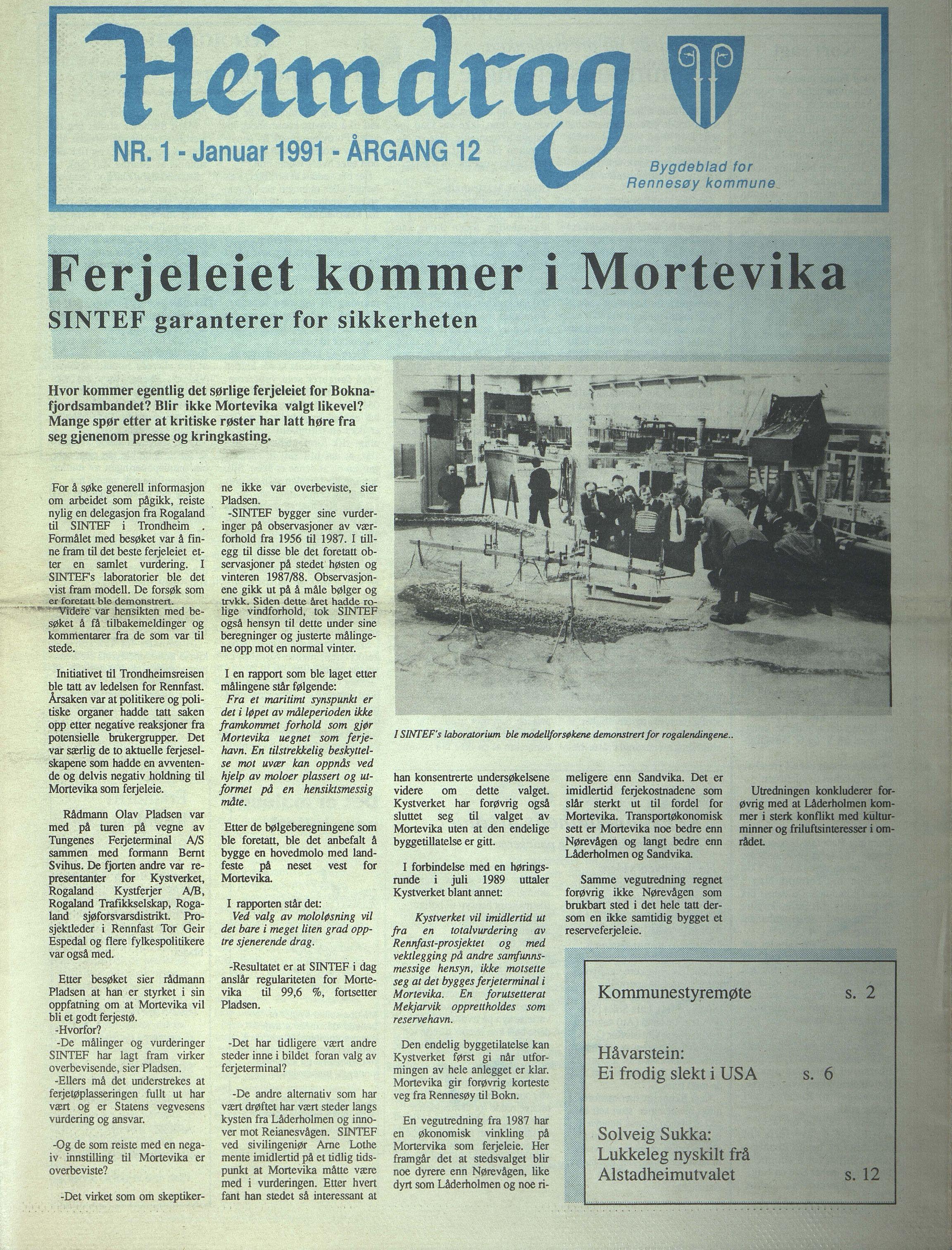 BYST, Rennesøy kommune. Heimdrag, lokalavis, X/Xa/L0013: Heimdrag 1991, 1991