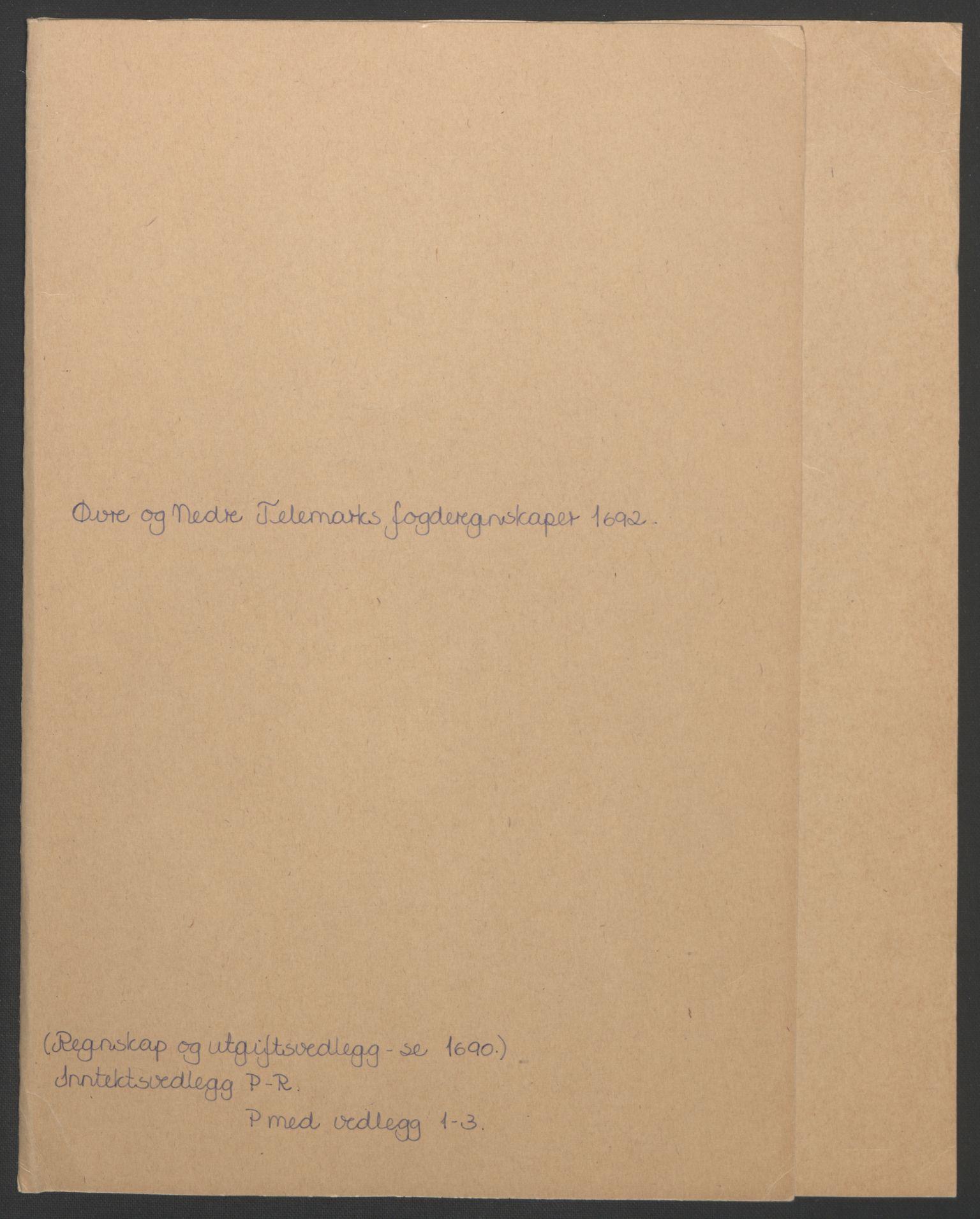 RA, Rentekammeret inntil 1814, Reviderte regnskaper, Fogderegnskap, R35/L2090: Fogderegnskap Øvre og Nedre Telemark, 1692, s. 3