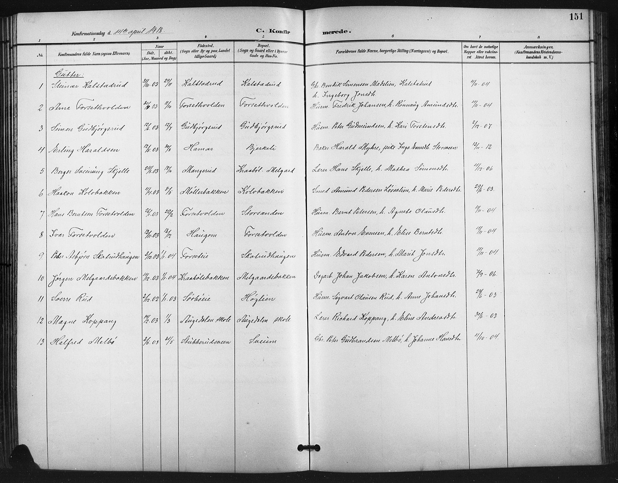 SAH, Vestre Gausdal prestekontor, Klokkerbok nr. 3, 1896-1925, s. 151