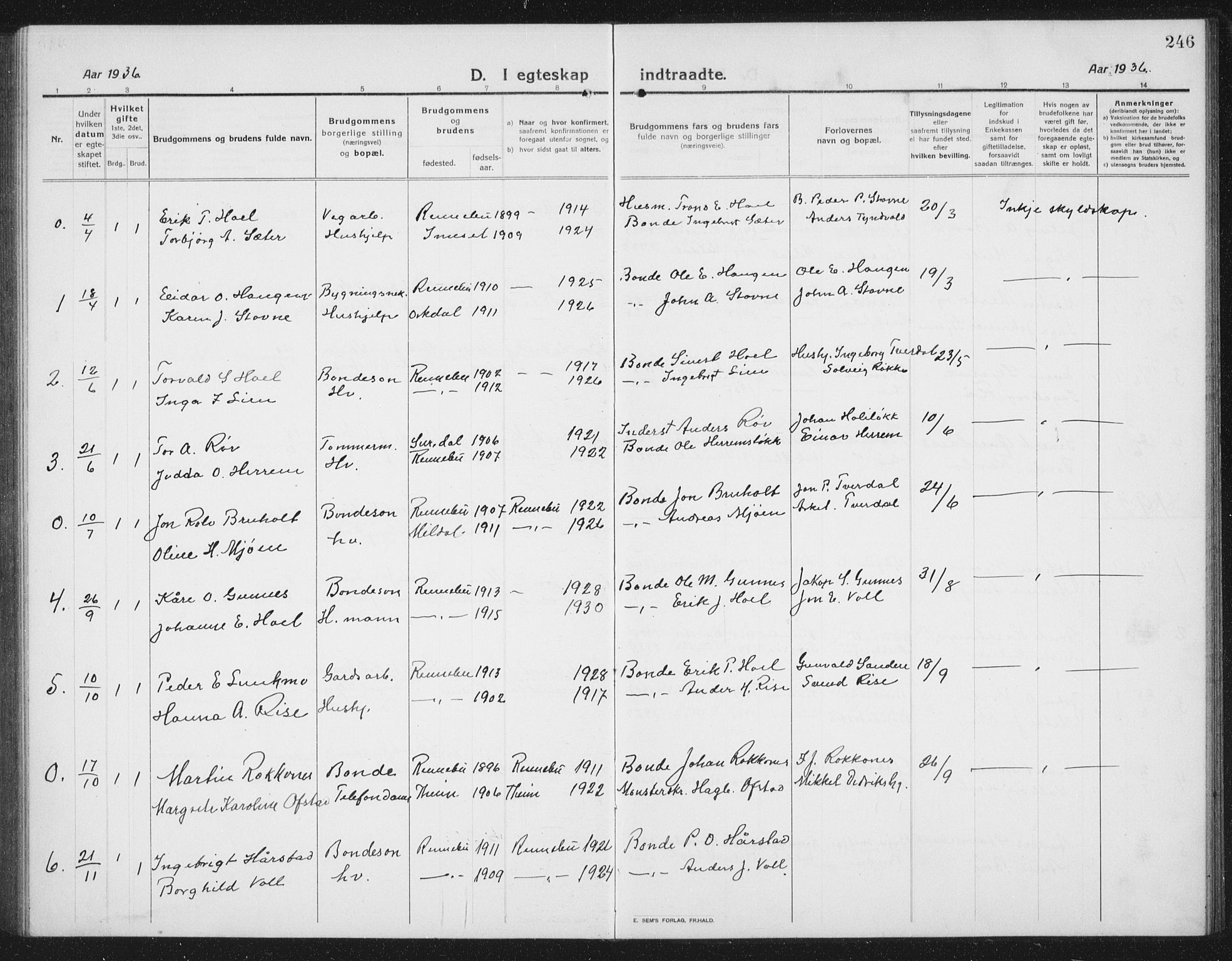 SAT, Ministerialprotokoller, klokkerbøker og fødselsregistre - Sør-Trøndelag, 674/L0877: Klokkerbok nr. 674C04, 1913-1940, s. 246