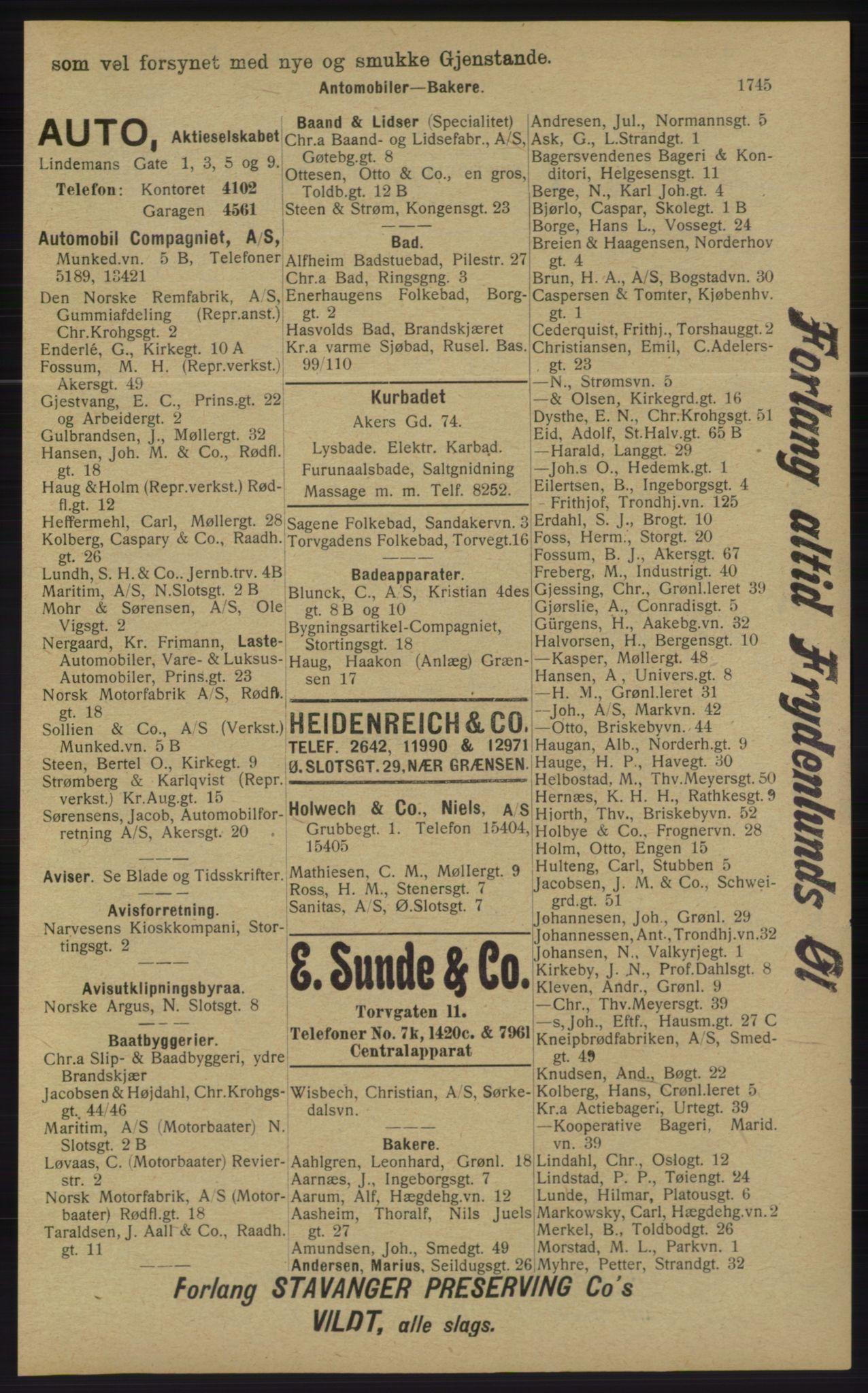 RA, Kristiania adressebok (publikasjon)*, 1913, s. 1745