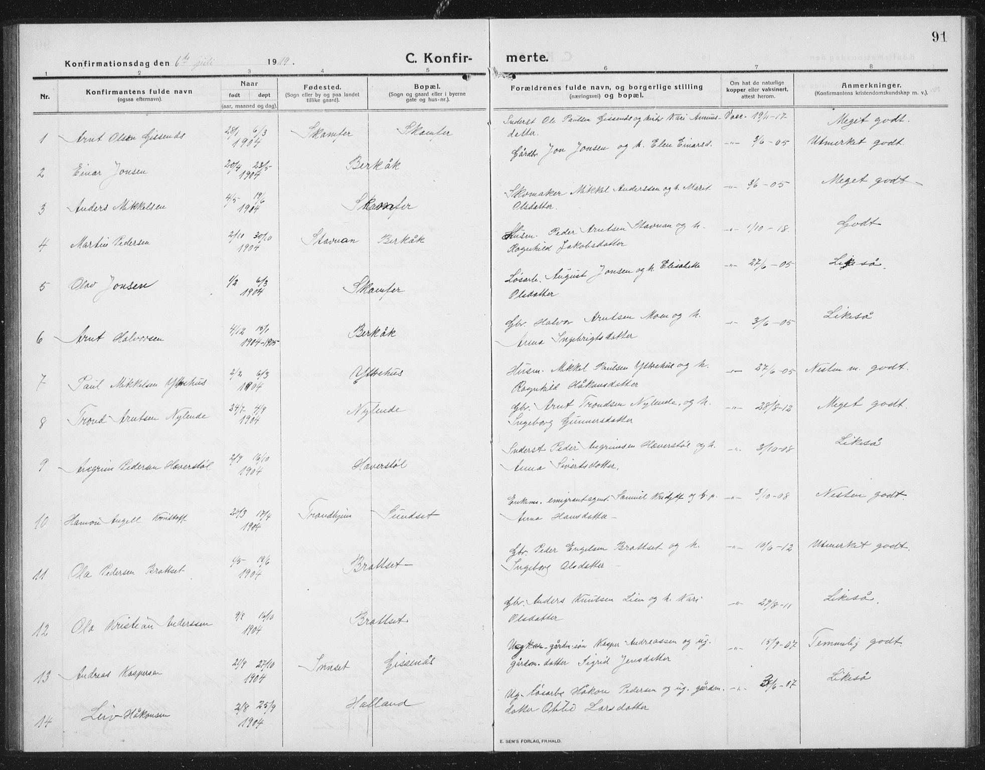 SAT, Ministerialprotokoller, klokkerbøker og fødselsregistre - Sør-Trøndelag, 675/L0888: Klokkerbok nr. 675C01, 1913-1935, s. 91