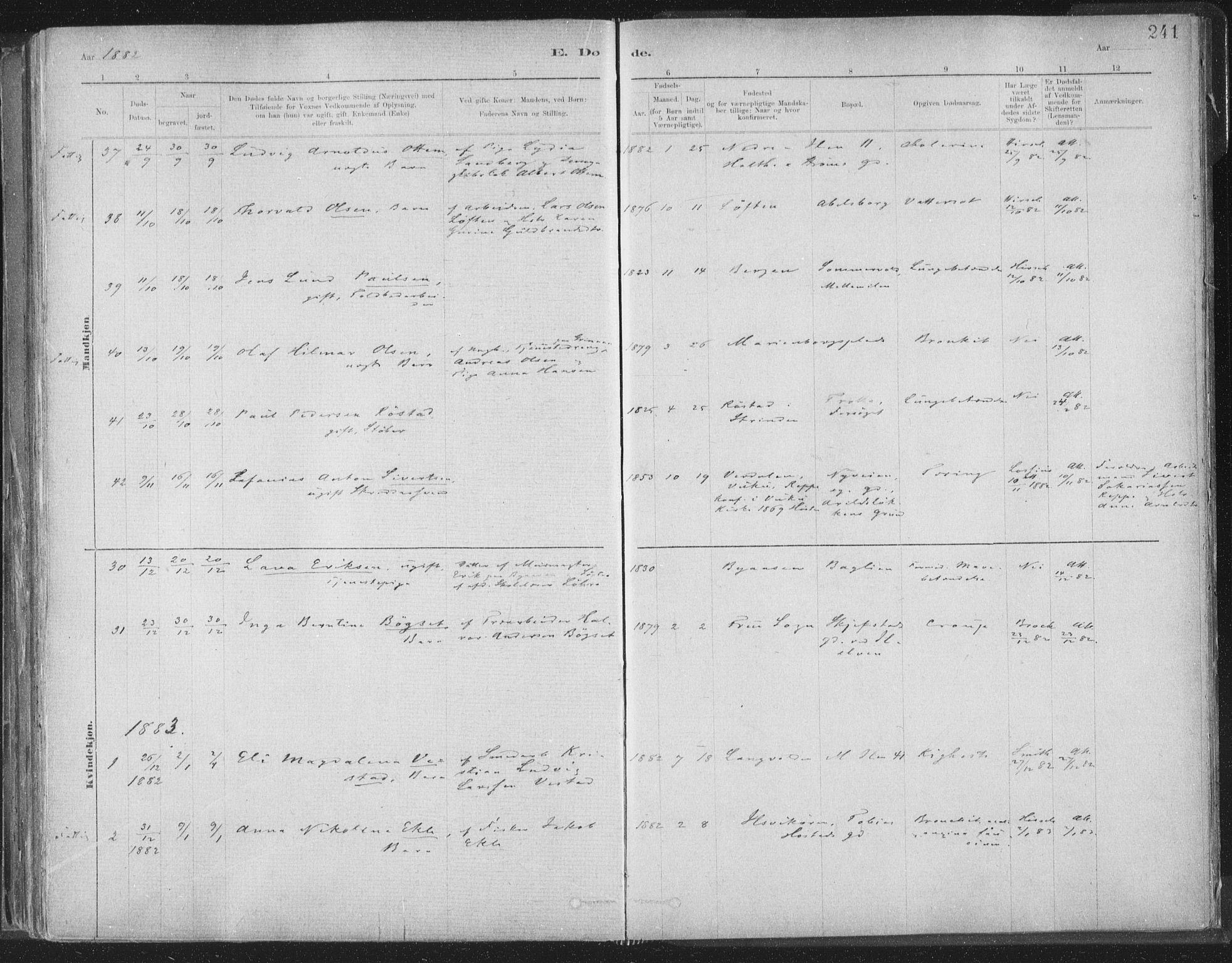 SAT, Ministerialprotokoller, klokkerbøker og fødselsregistre - Sør-Trøndelag, 603/L0162: Ministerialbok nr. 603A01, 1879-1895, s. 241