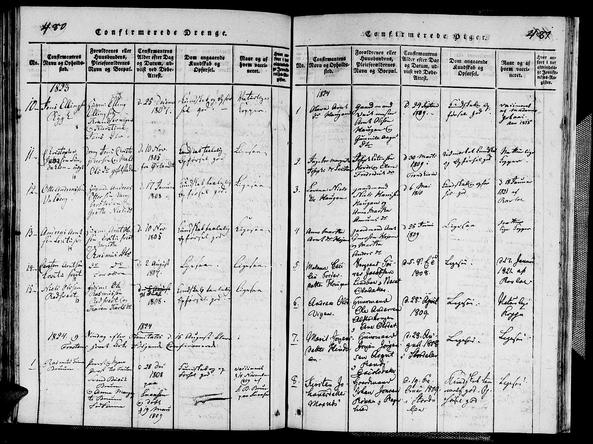 SAT, Ministerialprotokoller, klokkerbøker og fødselsregistre - Nord-Trøndelag, 713/L0124: Klokkerbok nr. 713C01, 1817-1827, s. 480-481