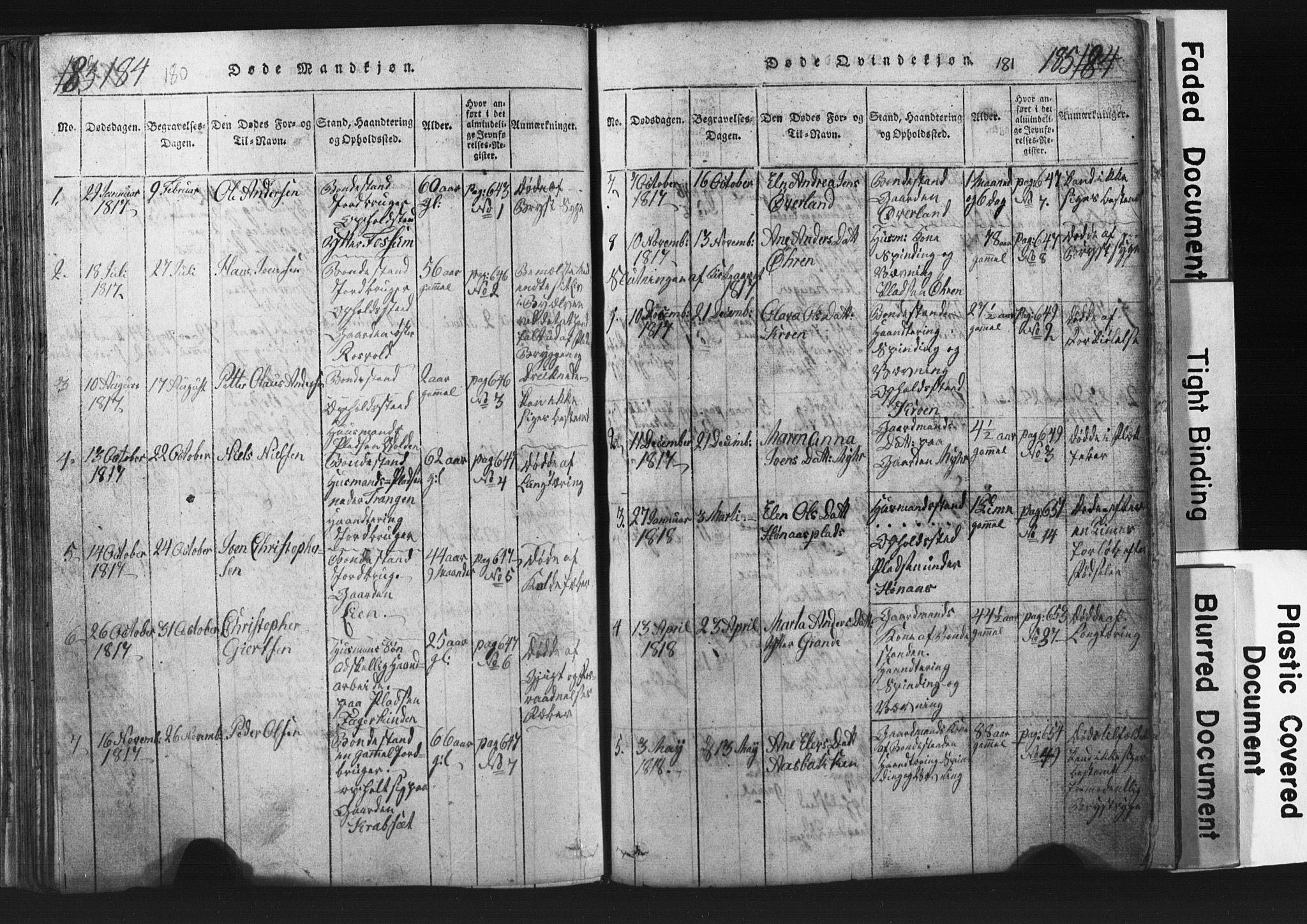 SAT, Ministerialprotokoller, klokkerbøker og fødselsregistre - Nord-Trøndelag, 701/L0017: Klokkerbok nr. 701C01, 1817-1825, s. 180-181