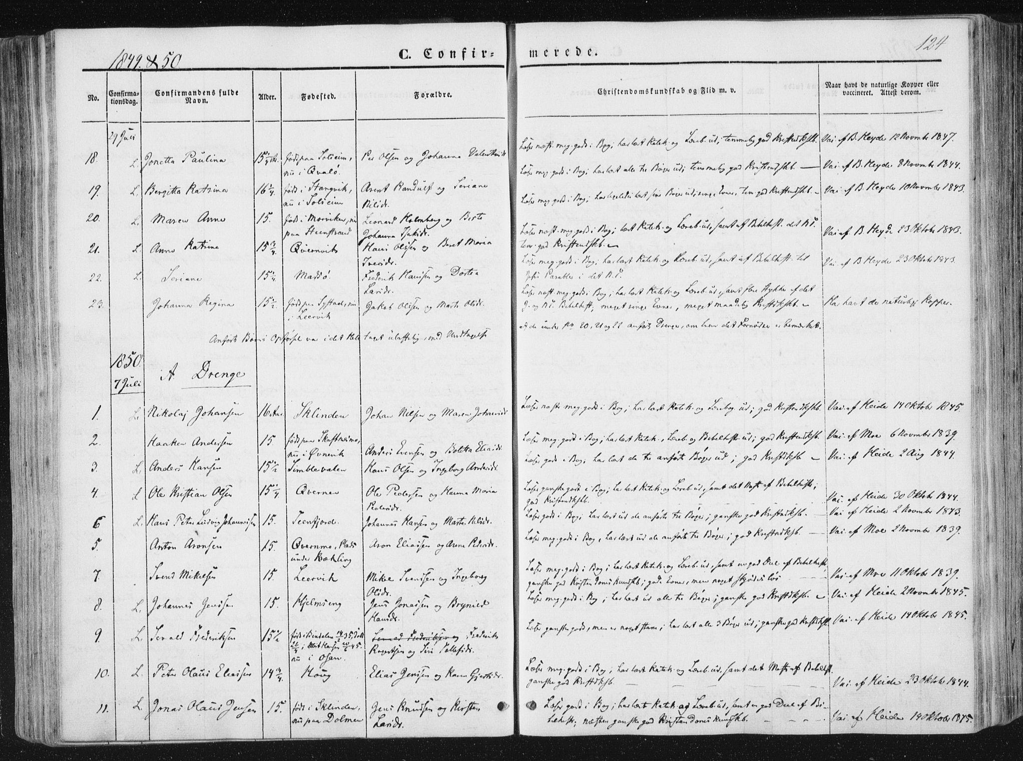 SAT, Ministerialprotokoller, klokkerbøker og fødselsregistre - Nord-Trøndelag, 780/L0640: Ministerialbok nr. 780A05, 1845-1856, s. 124