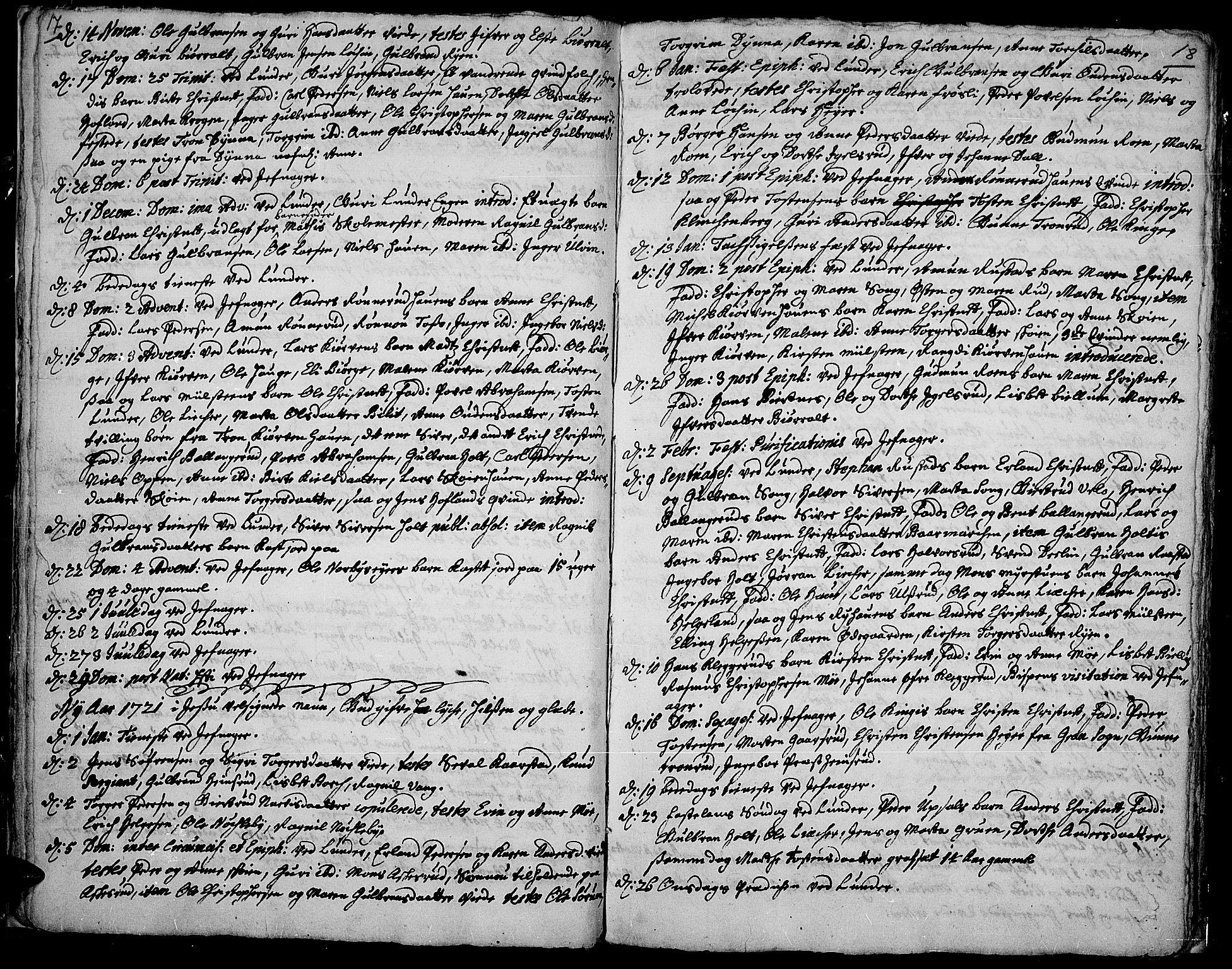 SAH, Jevnaker prestekontor, Ministerialbok nr. 1, 1718-1725, s. 17-18