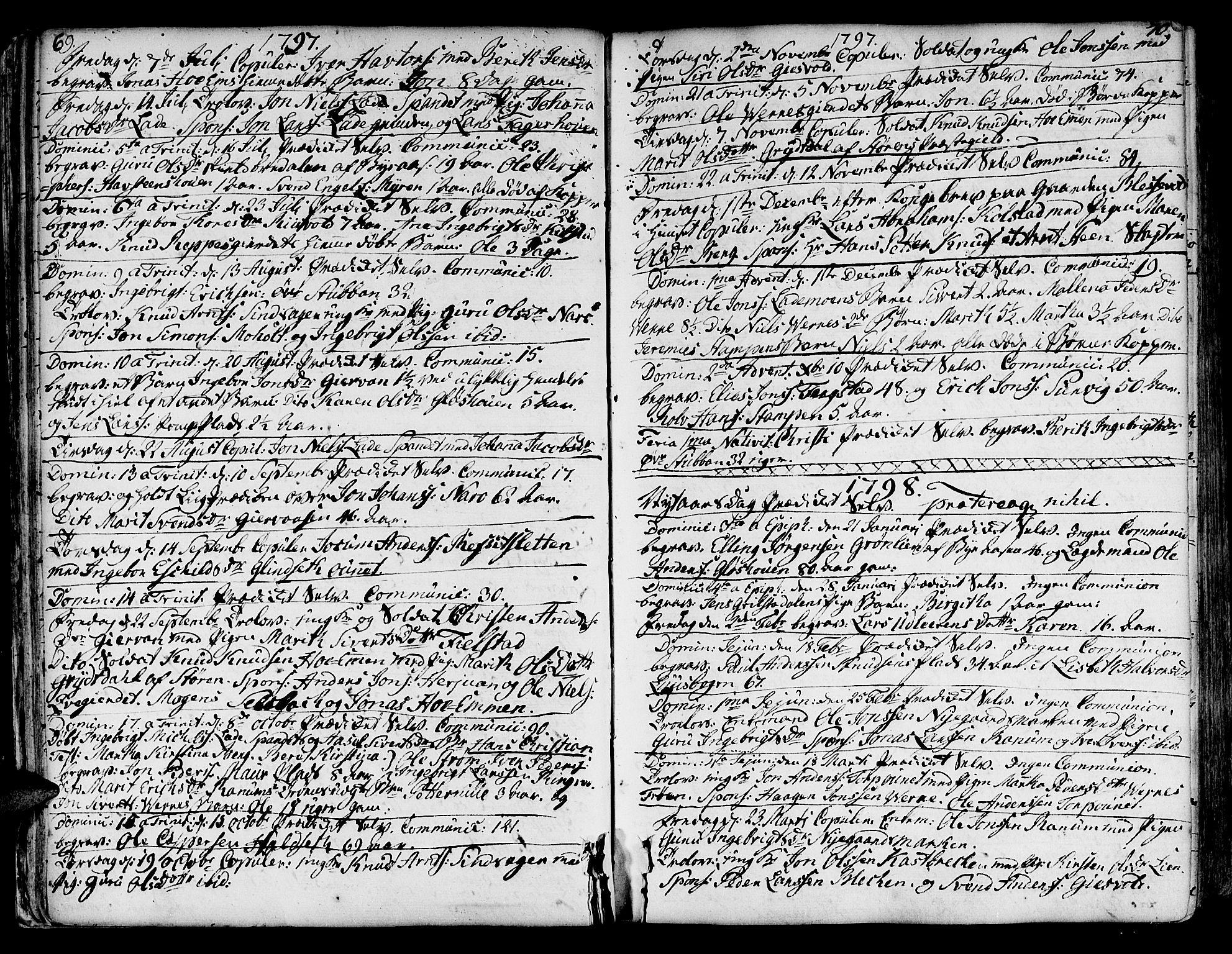 SAT, Ministerialprotokoller, klokkerbøker og fødselsregistre - Sør-Trøndelag, 606/L0280: Ministerialbok nr. 606A02 /1, 1781-1817, s. 69-70