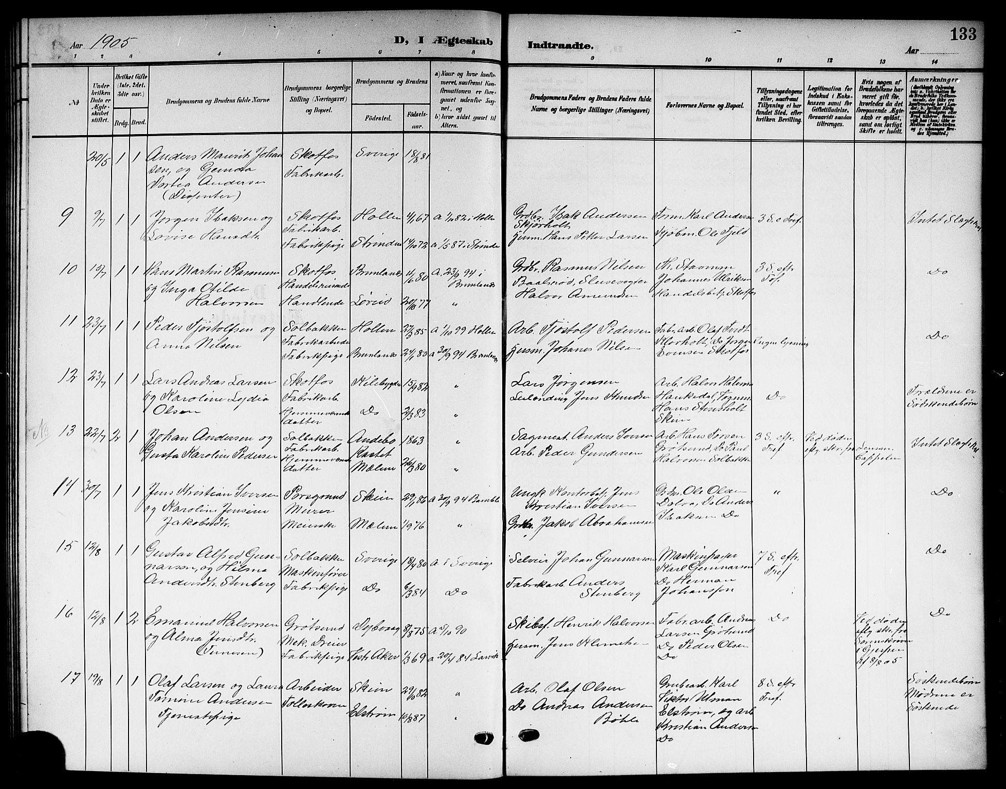 SAKO, Solum kirkebøker, G/Gb/L0005: Klokkerbok nr. II 5, 1905-1914, s. 133