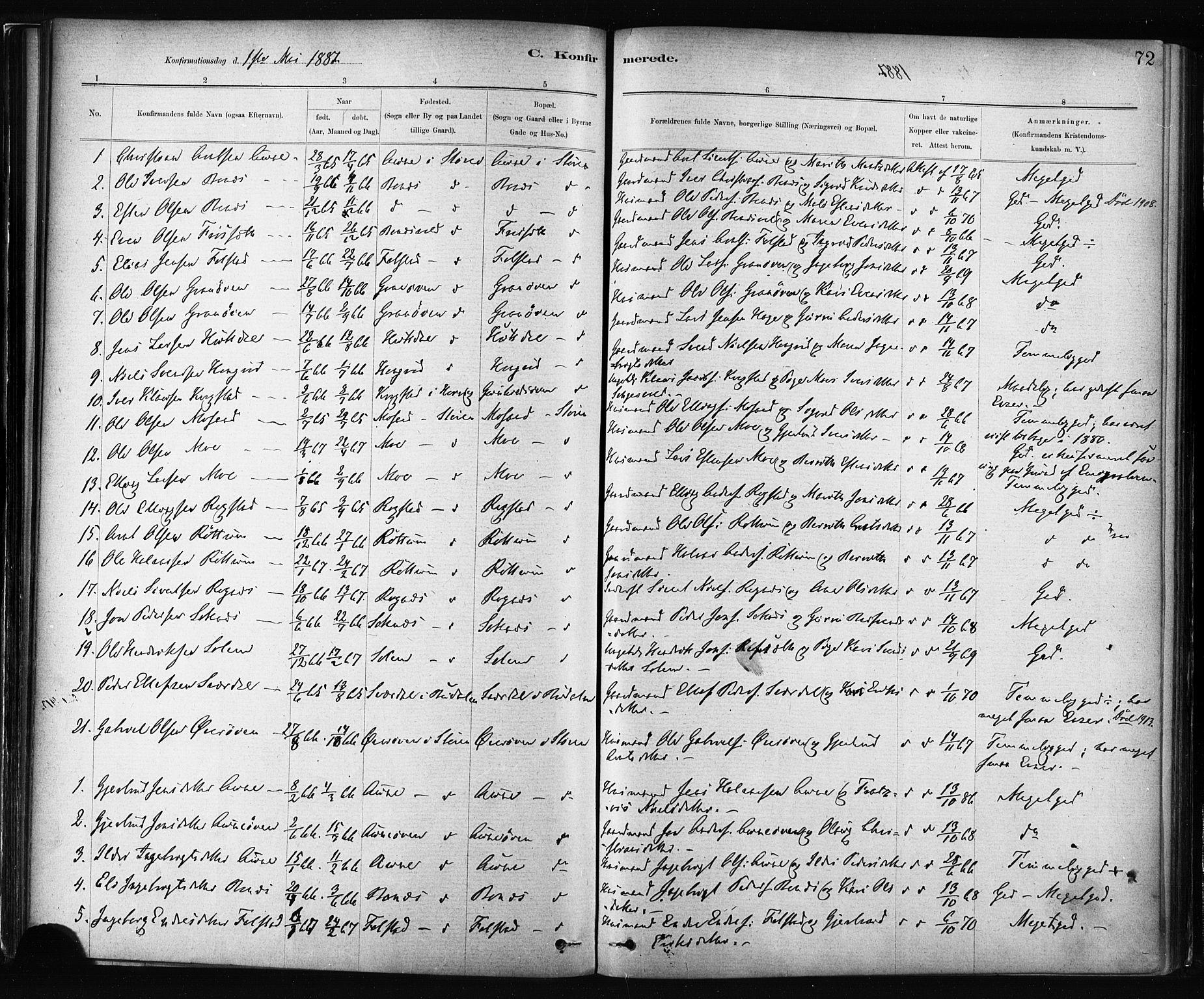 SAT, Ministerialprotokoller, klokkerbøker og fødselsregistre - Sør-Trøndelag, 687/L1002: Ministerialbok nr. 687A08, 1878-1890, s. 72