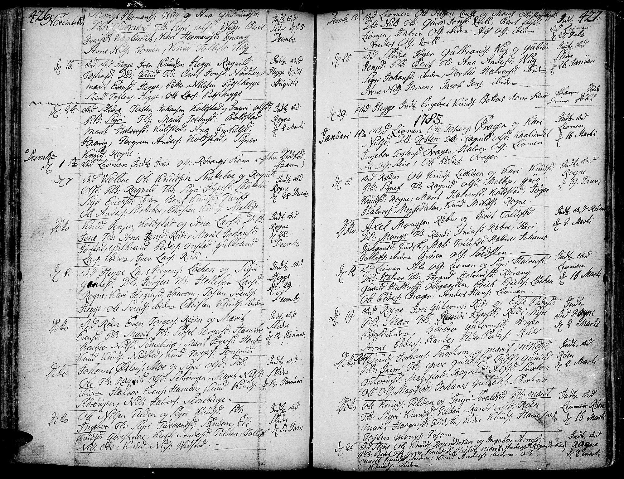 SAH, Slidre prestekontor, Ministerialbok nr. 1, 1724-1814, s. 426-427