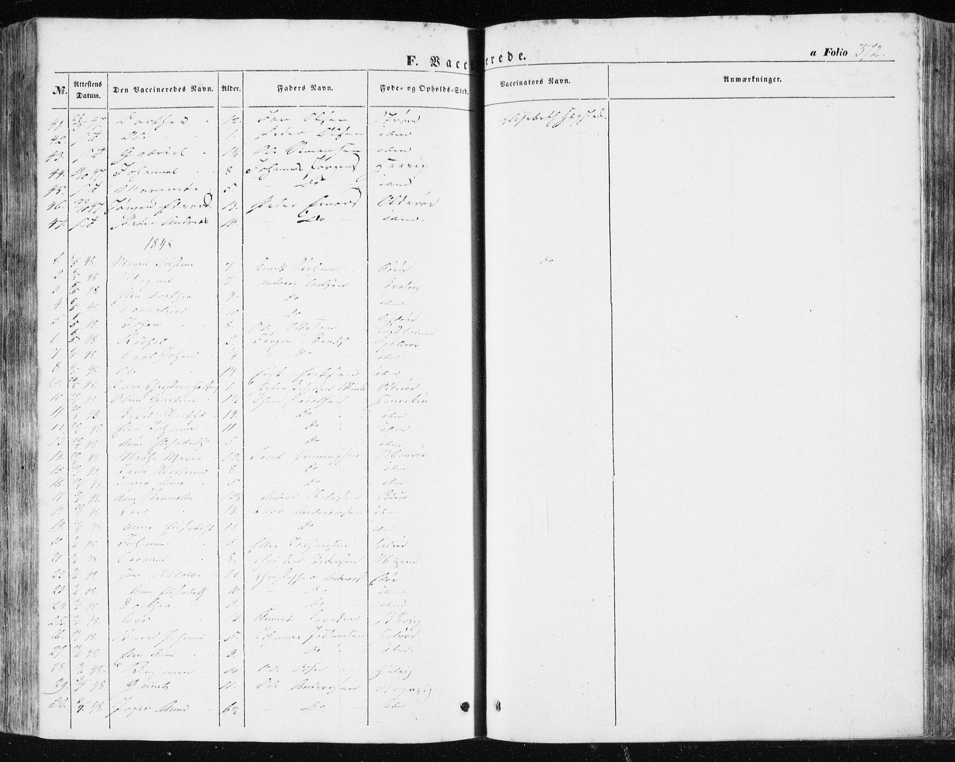 SAT, Ministerialprotokoller, klokkerbøker og fødselsregistre - Sør-Trøndelag, 634/L0529: Ministerialbok nr. 634A05, 1843-1851, s. 372