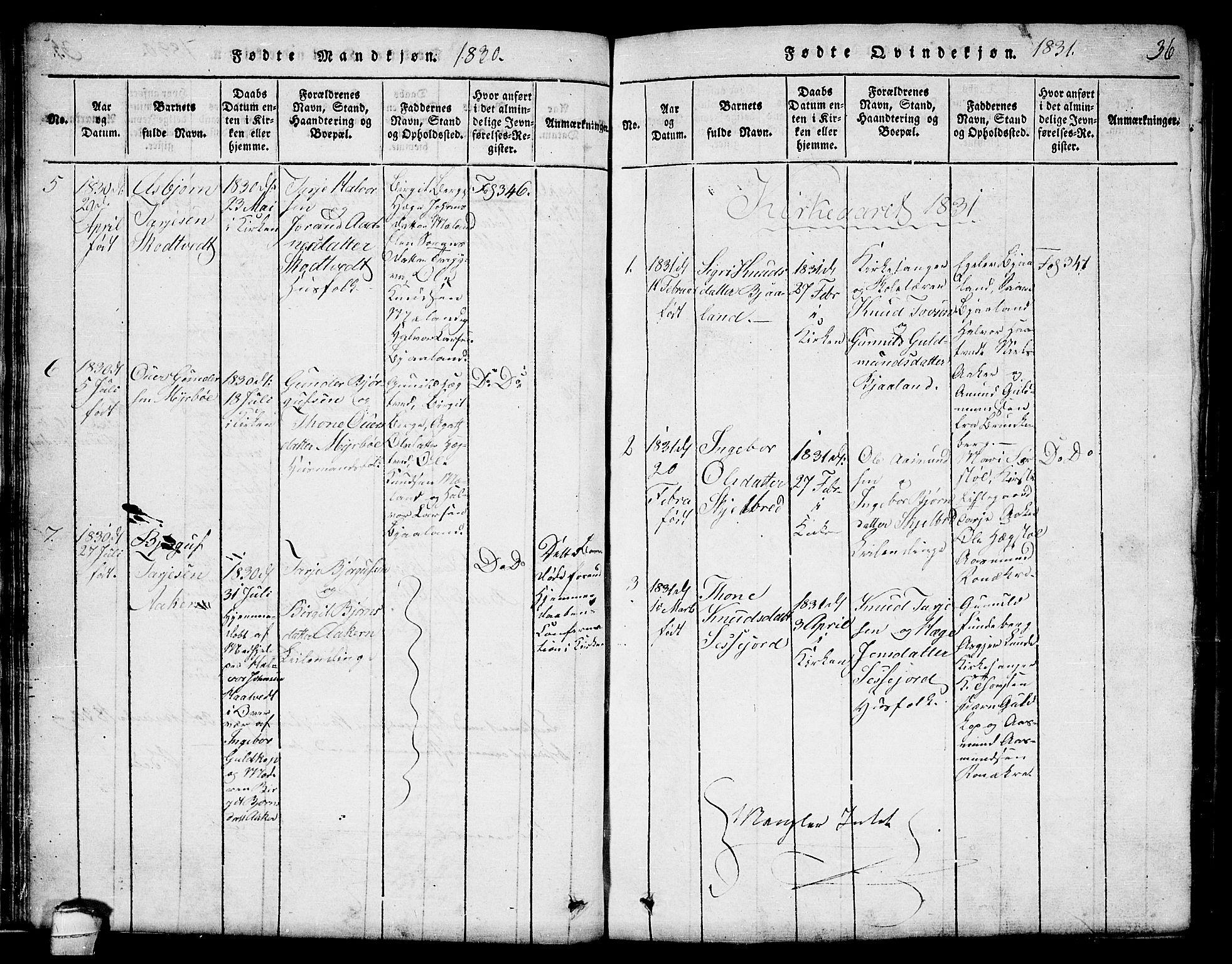 SAKO, Lårdal kirkebøker, G/Ga/L0001: Klokkerbok nr. I 1, 1815-1861, s. 36