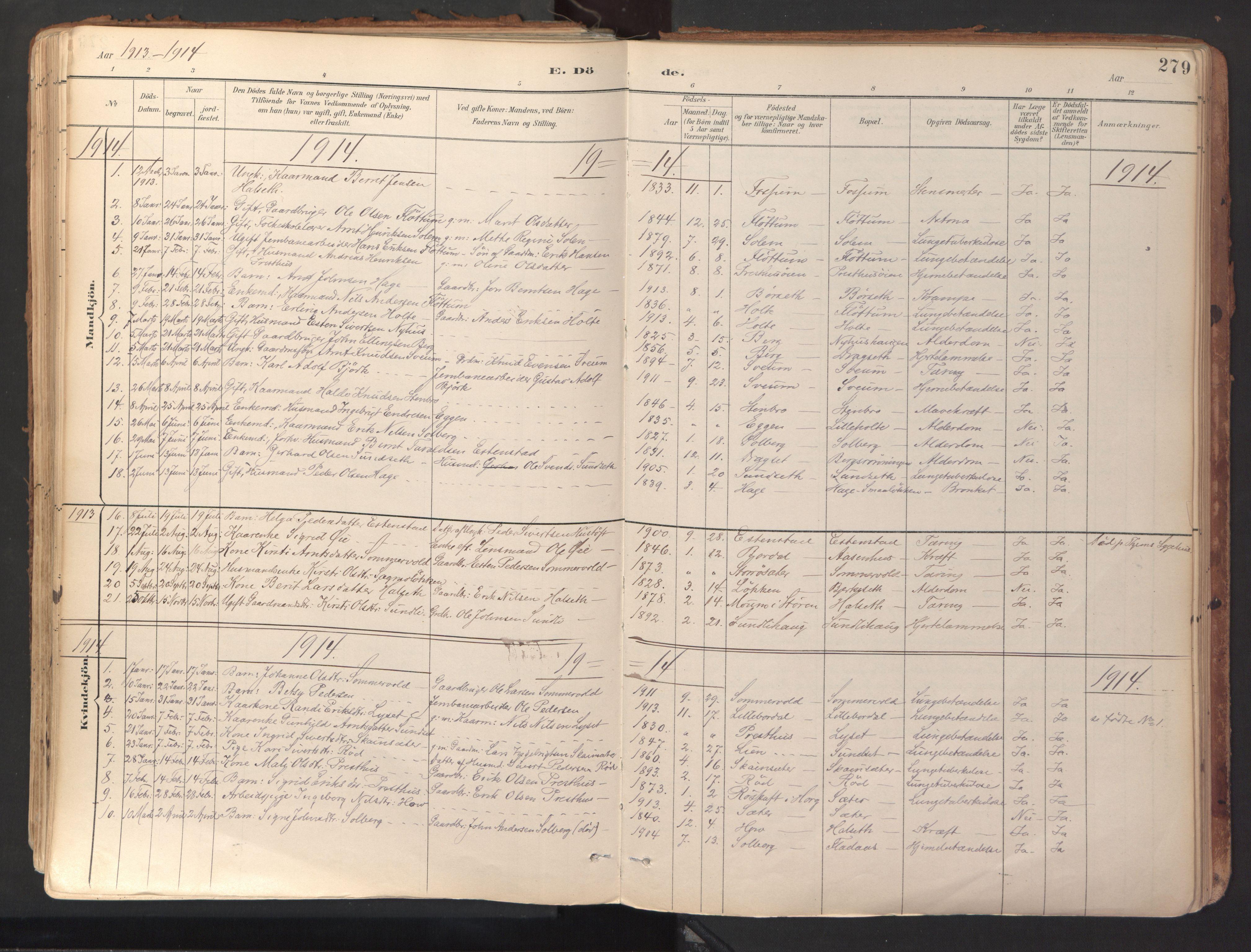 SAT, Ministerialprotokoller, klokkerbøker og fødselsregistre - Sør-Trøndelag, 689/L1041: Ministerialbok nr. 689A06, 1891-1923, s. 279