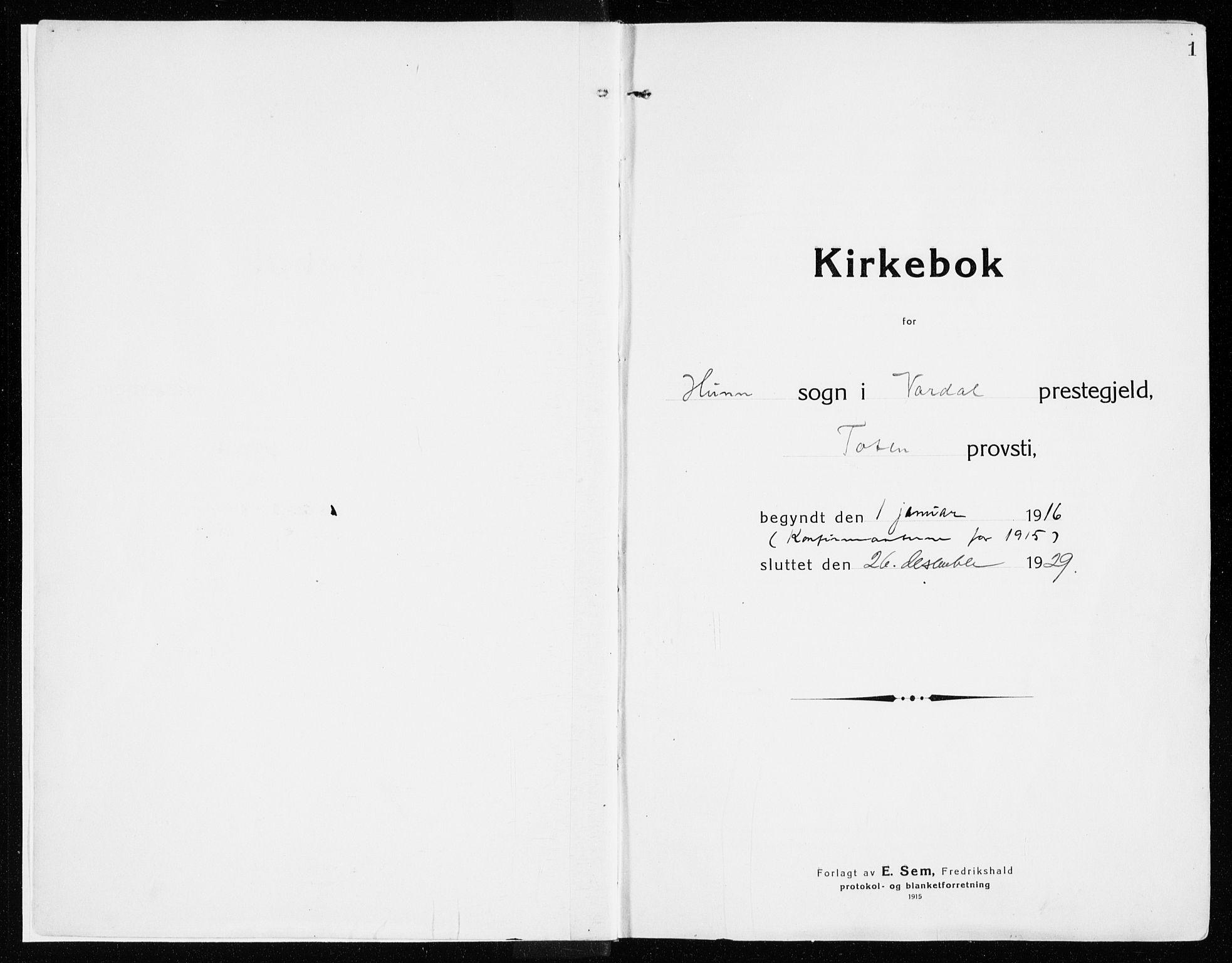 SAH, Vardal prestekontor, H/Ha/Haa/L0017: Ministerialbok nr. 17, 1915-1929, s. 1