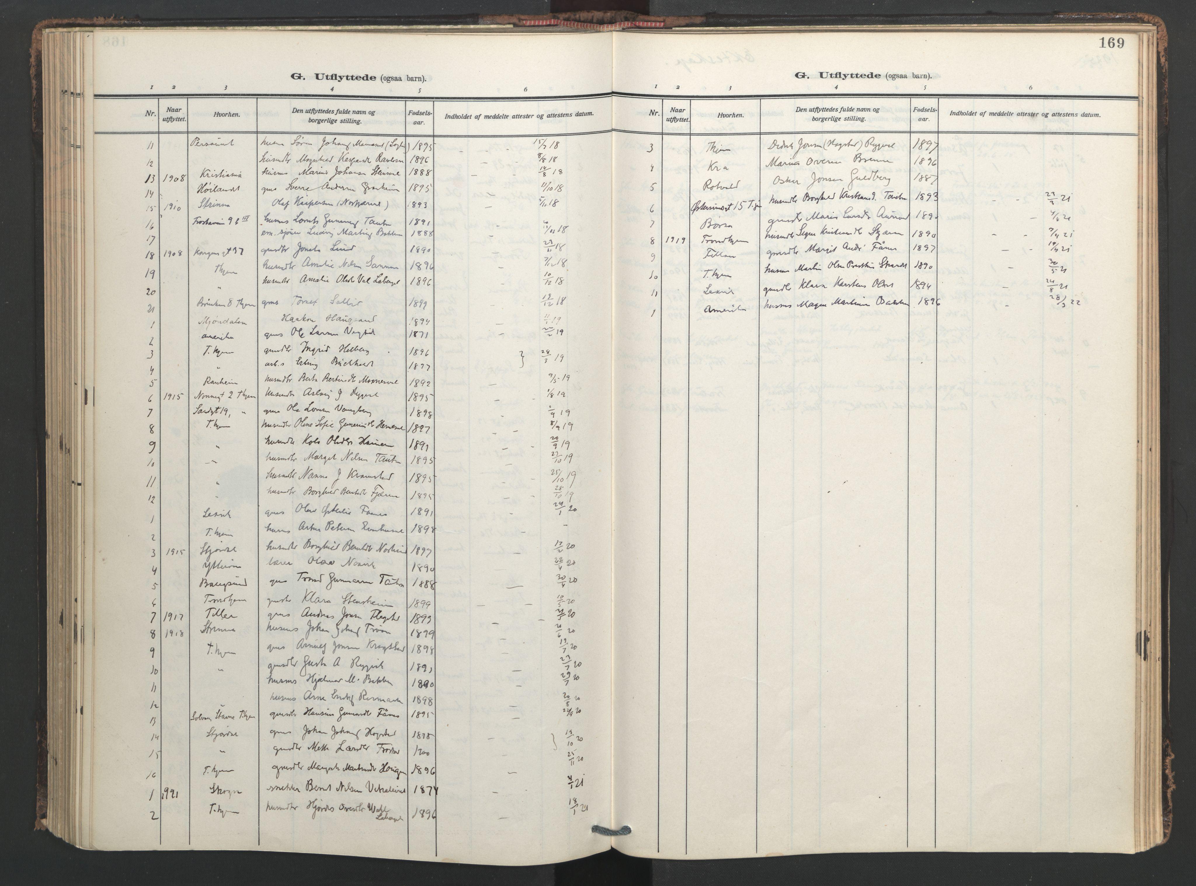 SAT, Ministerialprotokoller, klokkerbøker og fødselsregistre - Nord-Trøndelag, 713/L0123: Ministerialbok nr. 713A12, 1911-1925, s. 169