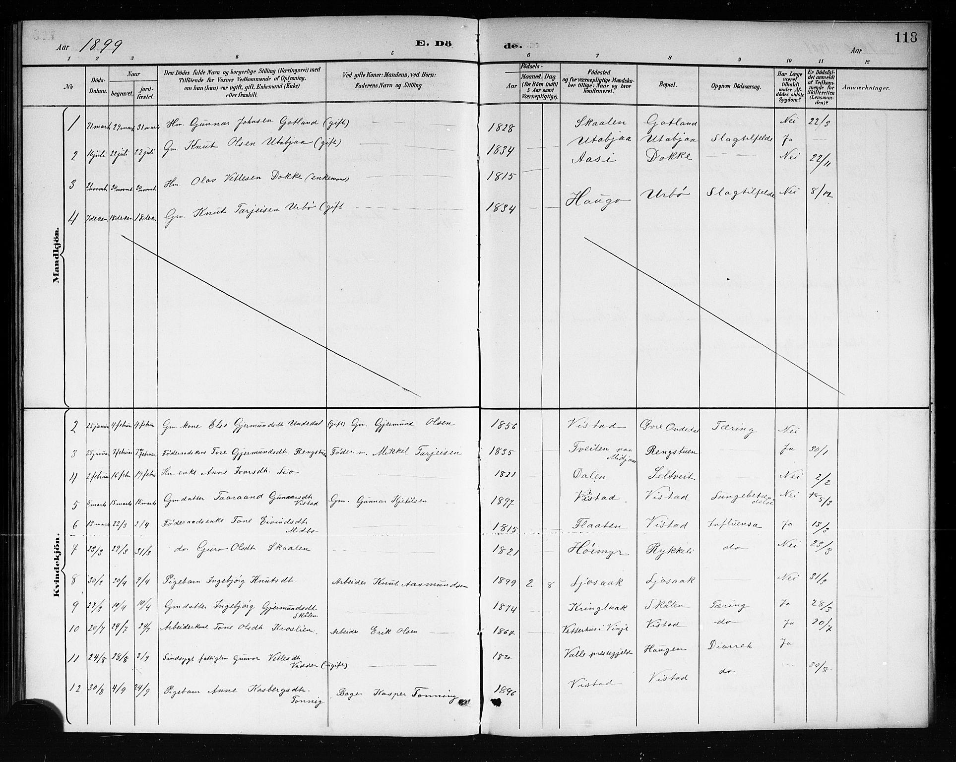 SAKO, Mo kirkebøker, G/Ga/L0002: Klokkerbok nr. I 2, 1892-1914, s. 118