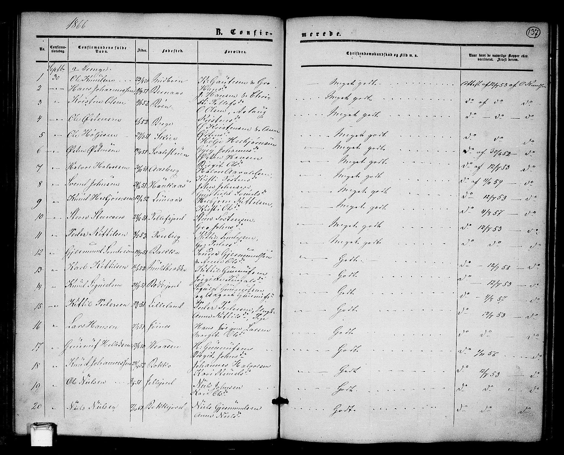 SAKO, Tinn kirkebøker, G/Ga/L0002: Klokkerbok nr. I 2, 1851-1883, s. 137