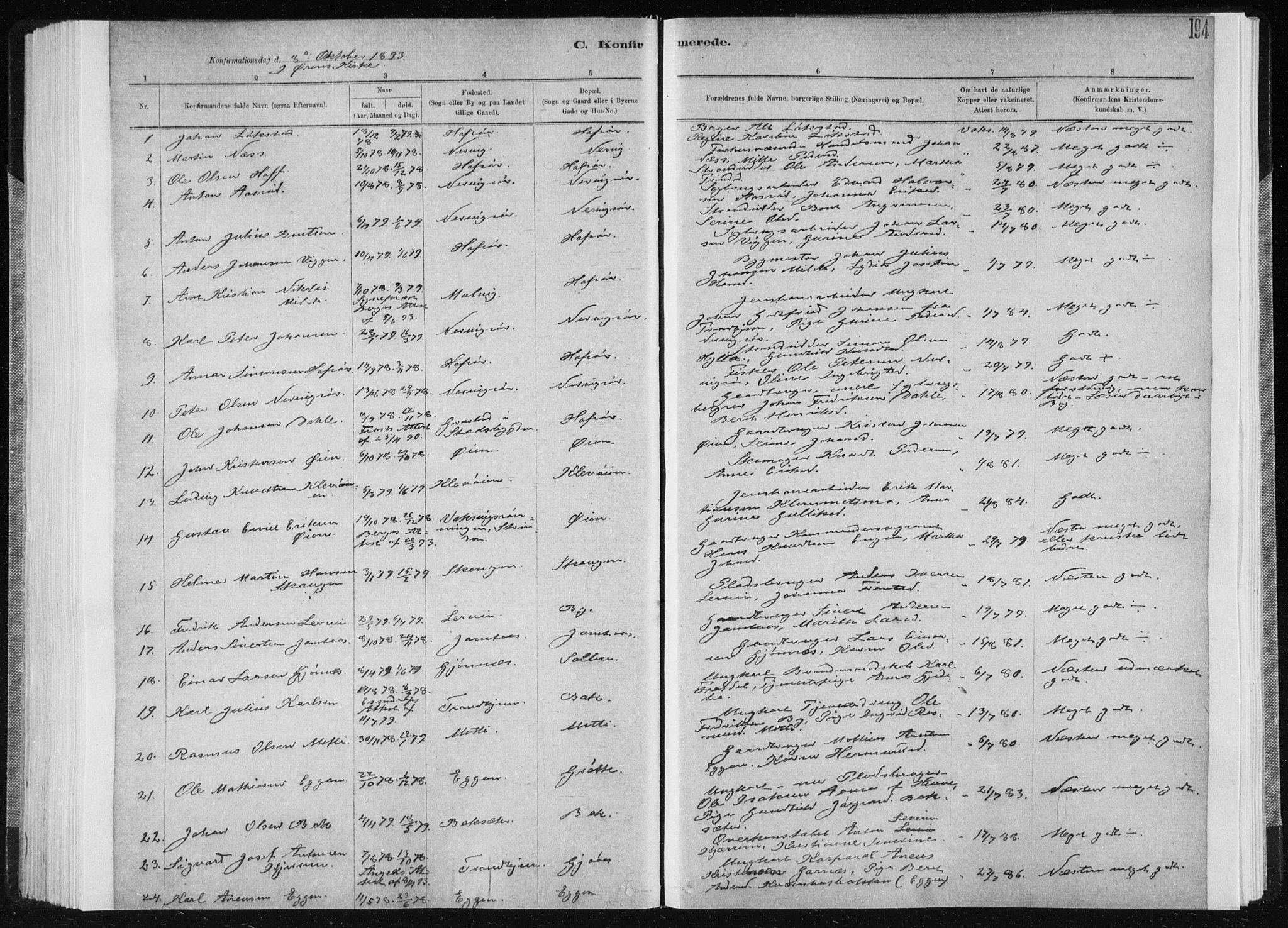 SAT, Ministerialprotokoller, klokkerbøker og fødselsregistre - Sør-Trøndelag, 668/L0818: Klokkerbok nr. 668C07, 1885-1898, s. 194