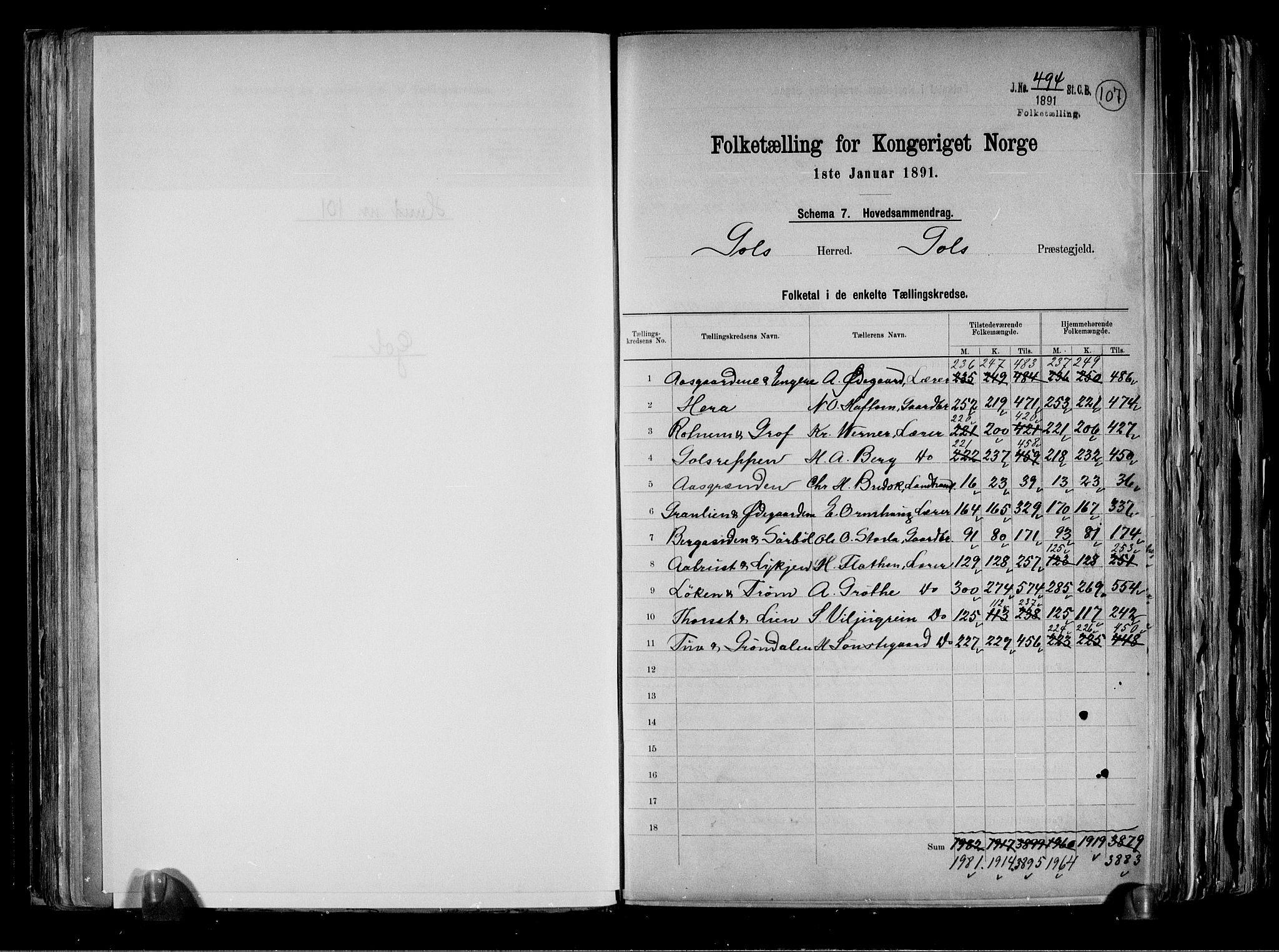 RA, Folketelling 1891 for 0617 Gol og Hemsedal herred, 1891, s. 2