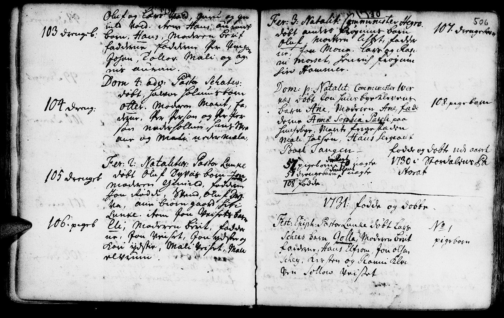 SAT, Ministerialprotokoller, klokkerbøker og fødselsregistre - Nord-Trøndelag, 709/L0055: Ministerialbok nr. 709A03, 1730-1739, s. 505-506