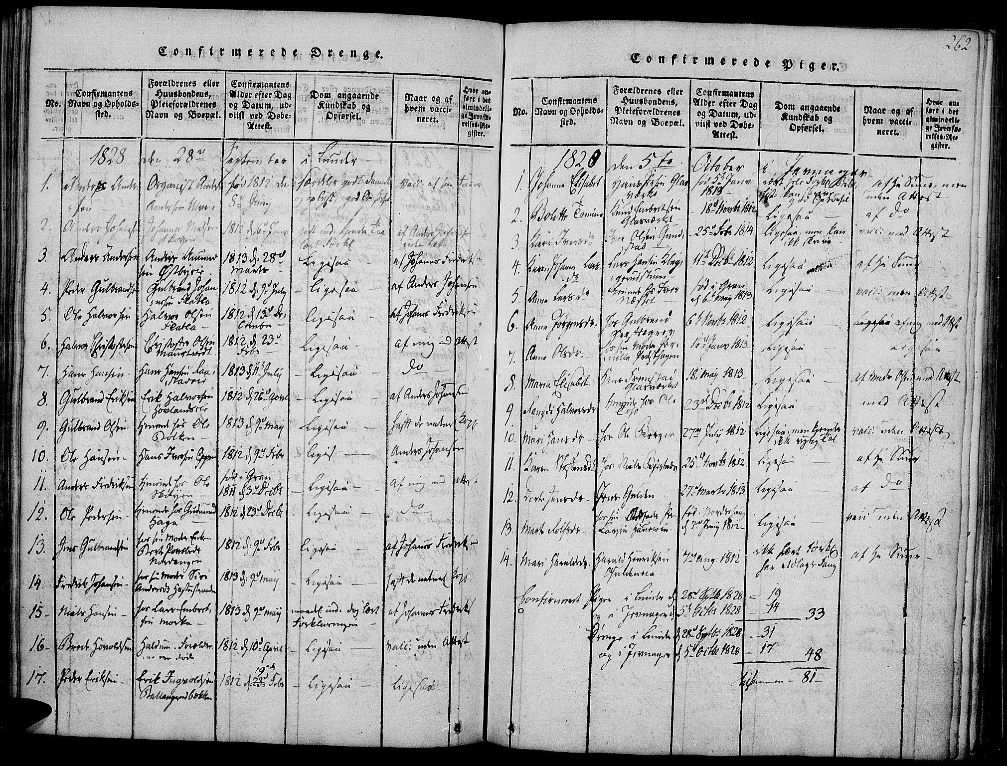 SAH, Jevnaker prestekontor, Ministerialbok nr. 5, 1815-1837, s. 262