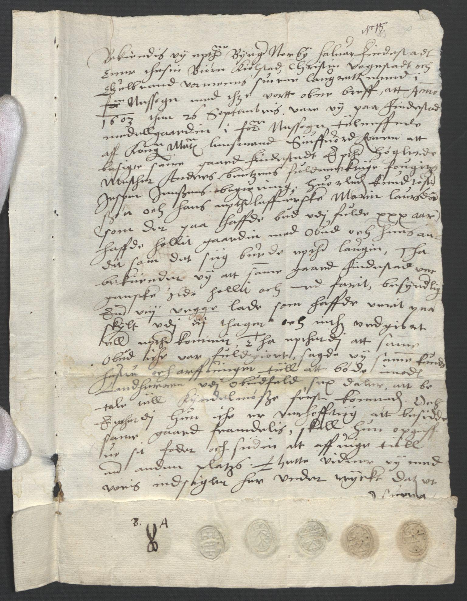 SAO, Oslo stiftsdireksjon, G/Gb/L0001: Bispestolens dokumenter, 1584-1612, s. 15