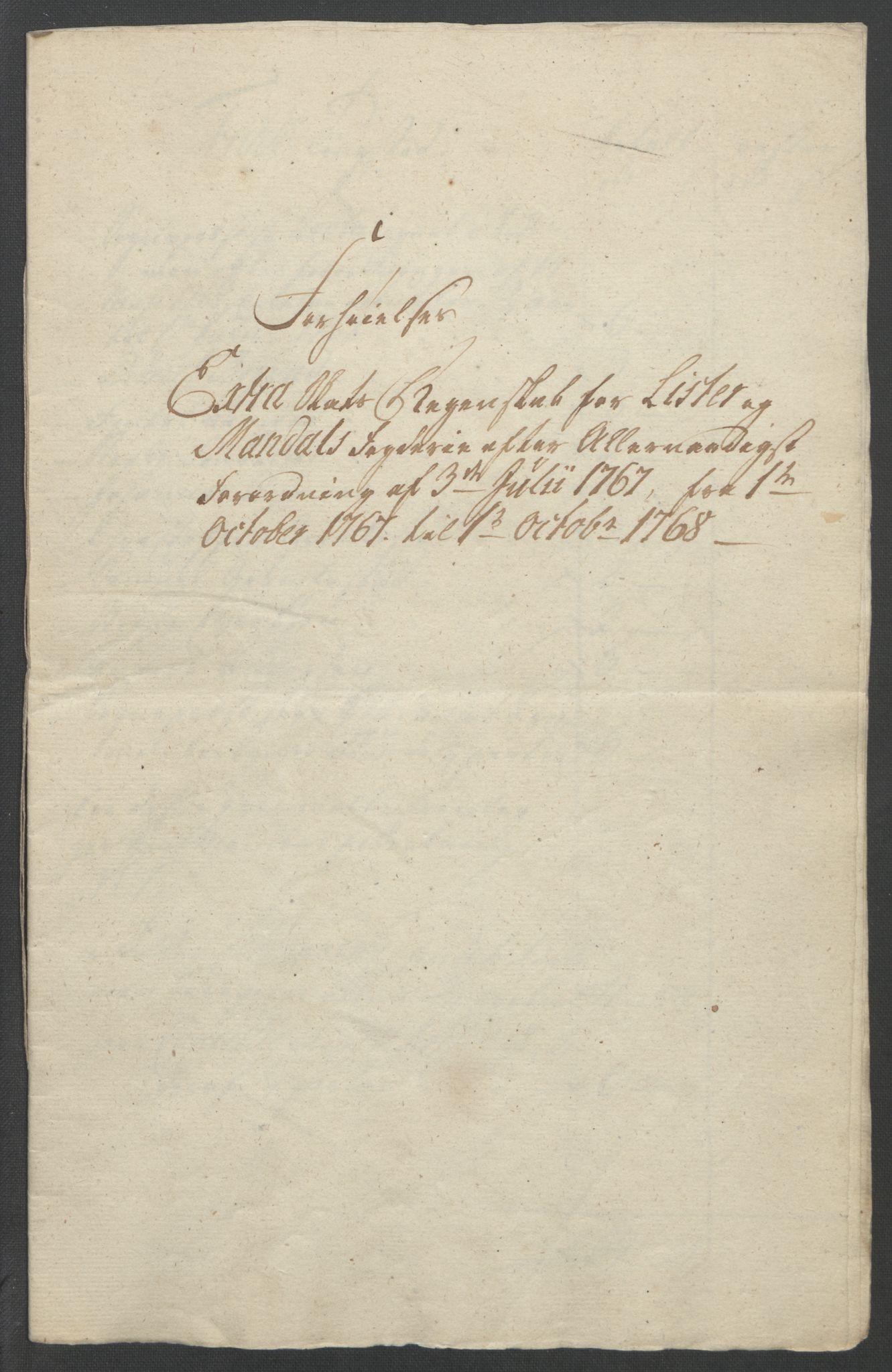 RA, Rentekammeret inntil 1814, Reviderte regnskaper, Fogderegnskap, R45/L2704: Ekstraskatten Lista og Mandal, 1762-1768, s. 333