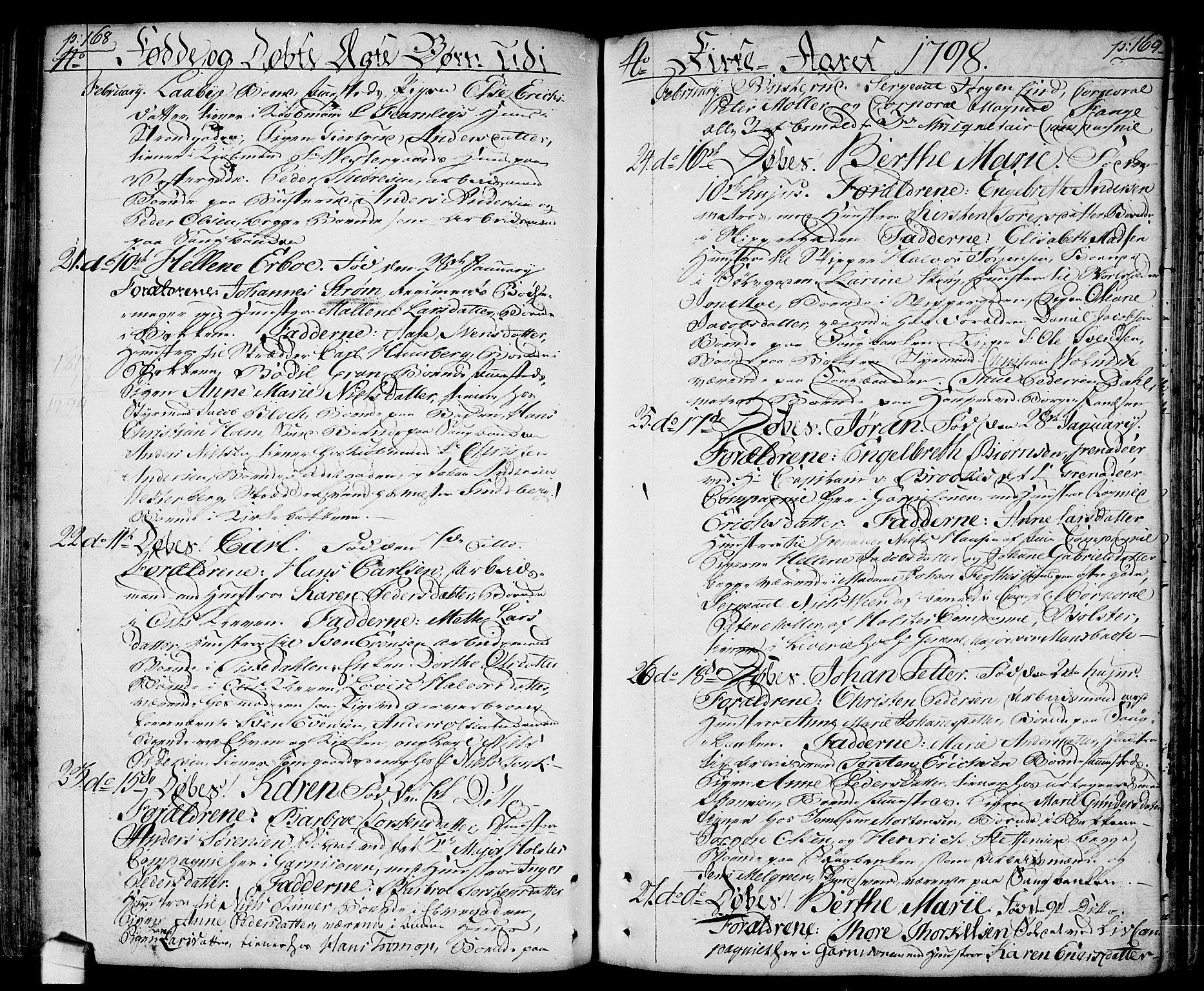 SAO, Halden prestekontor Kirkebøker, F/Fa/L0002: Ministerialbok nr. I 2, 1792-1812, s. 168-169