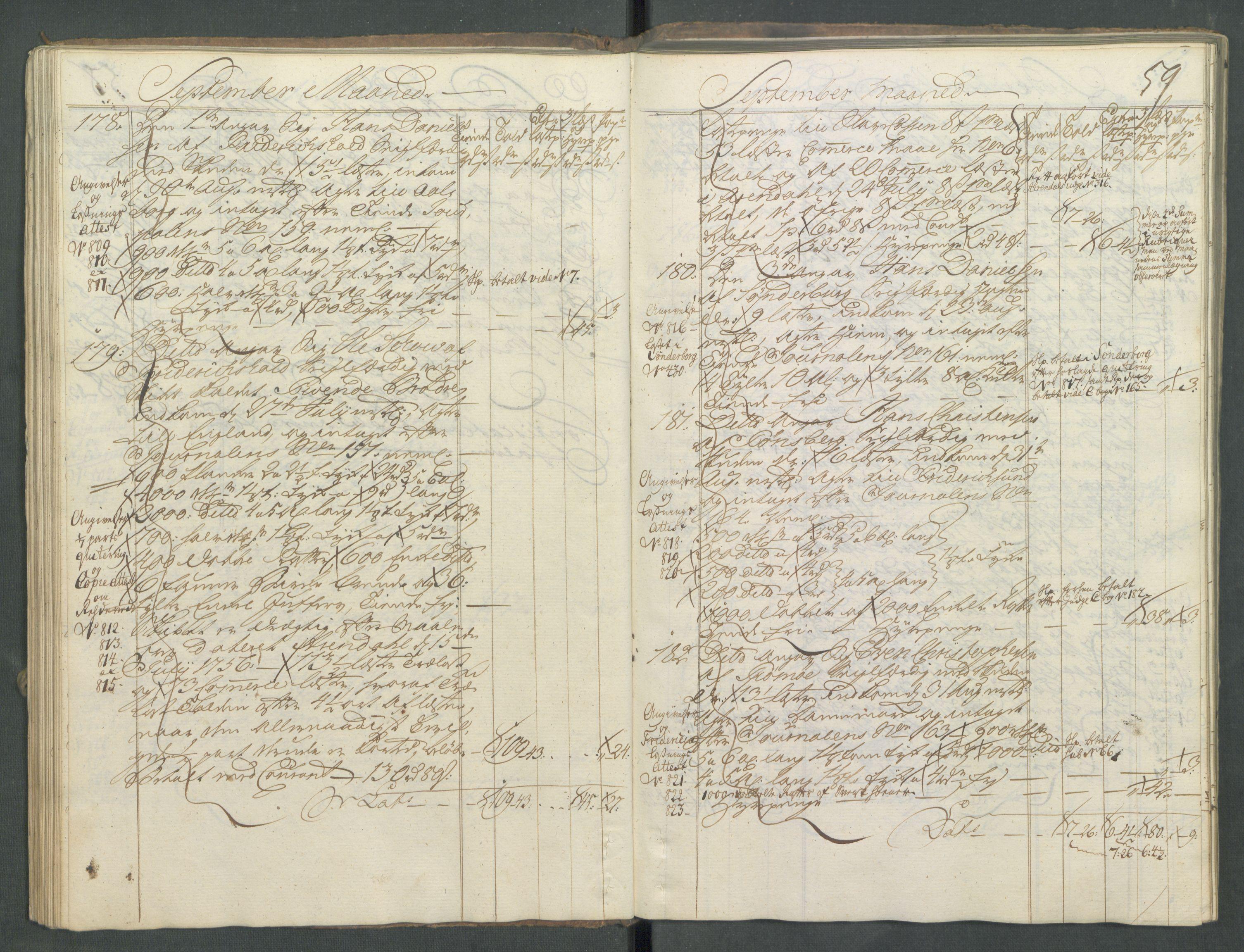 RA, Generaltollkammeret, tollregnskaper, R01/L0029: Tollregnskaper Fredrikshald, 1756, s. 58b-59a
